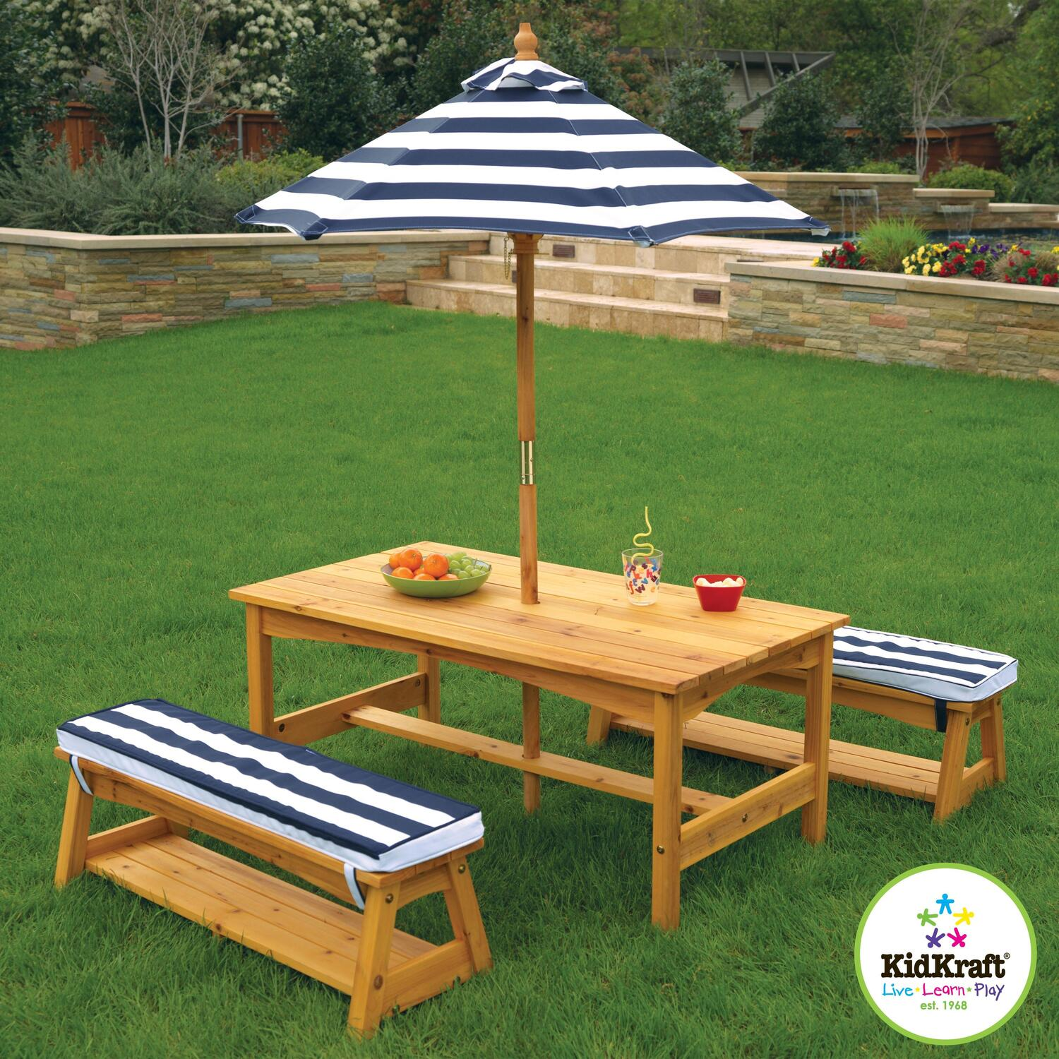 Kidkraft Outdoor Table Amp Bench Set With Cushions Umbrella