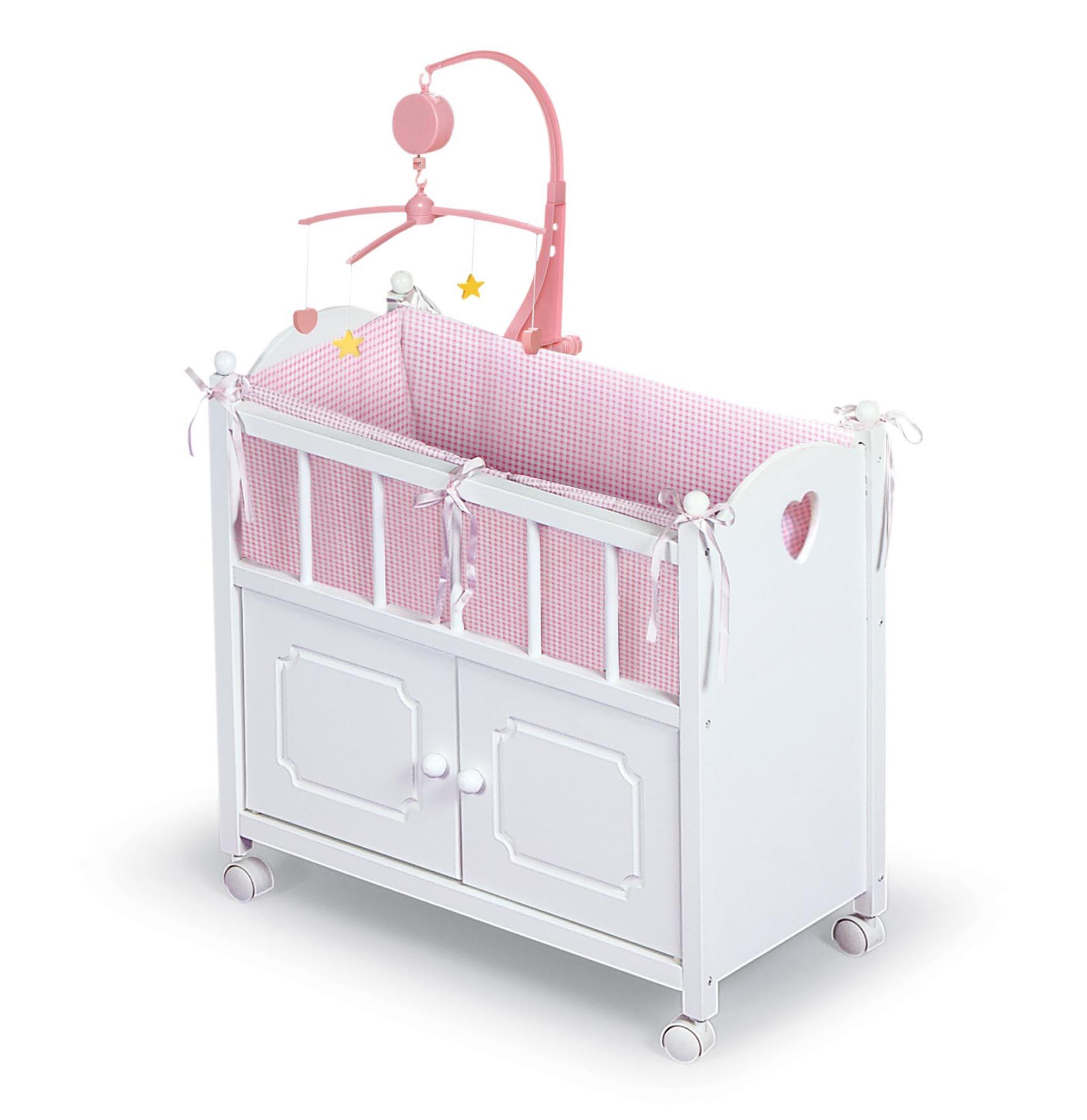 Best Crib Toys For Babies : Badger basket doll crib with cabinet mobile and bedding