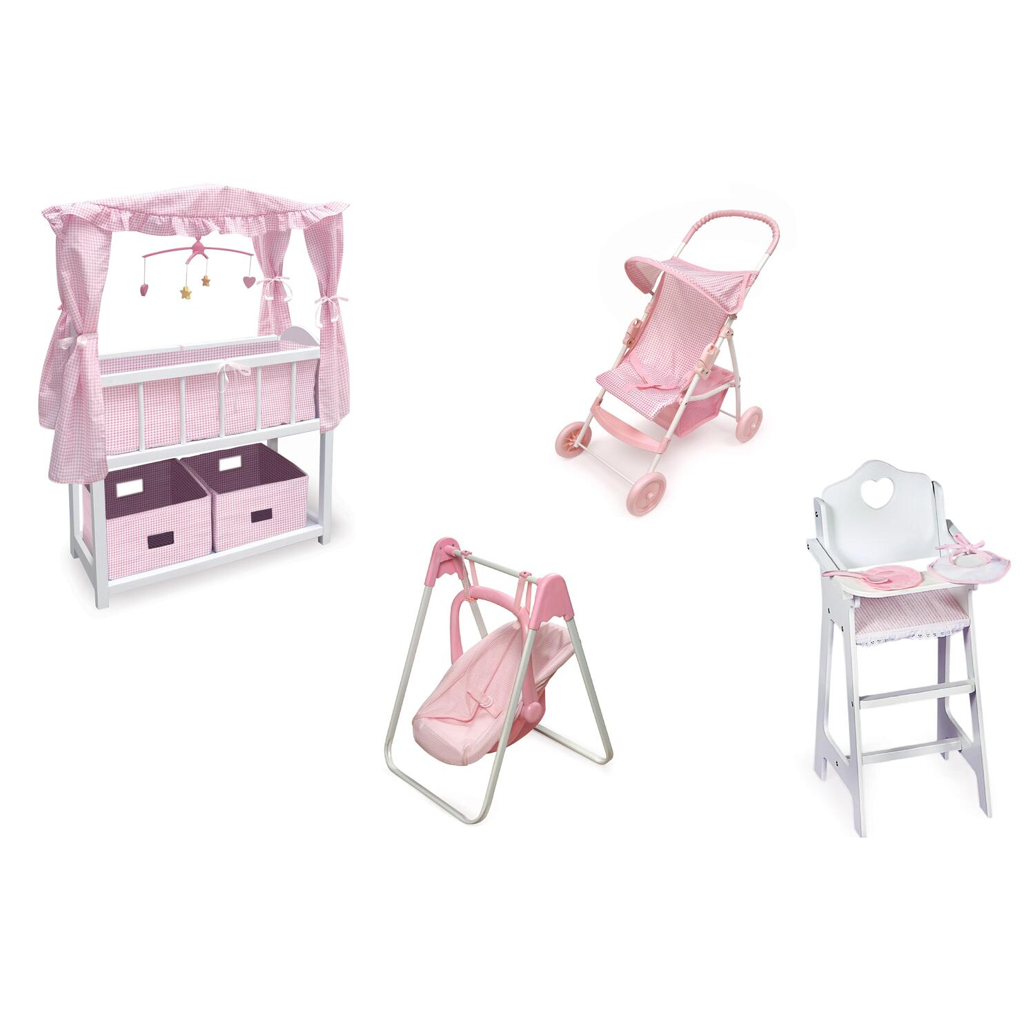 badger basket canopied doll crib furniture set by oj