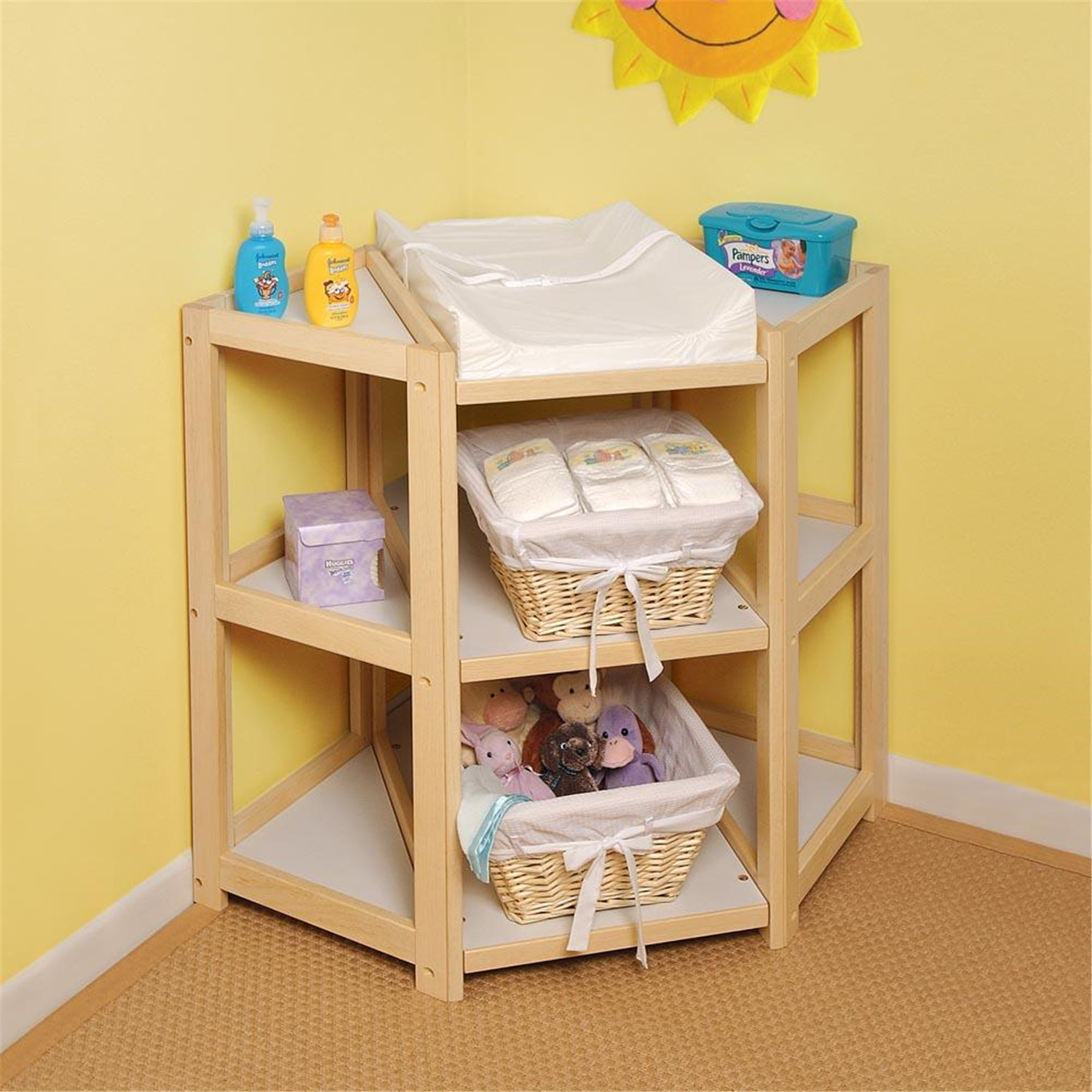 badger basket diaper corner changing table by oj commerce. Black Bedroom Furniture Sets. Home Design Ideas