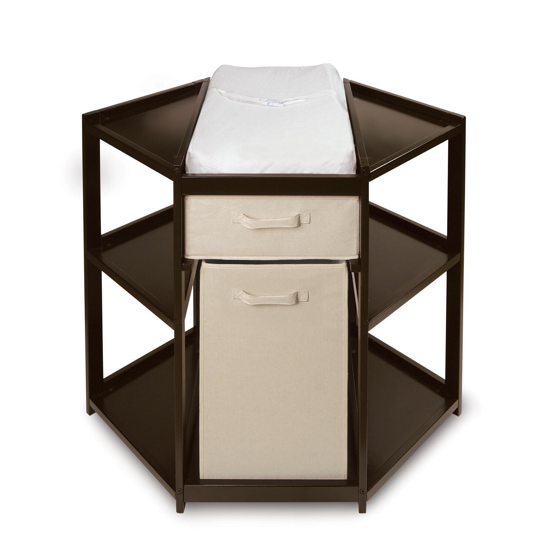 Badger Basket Espresso Diaper Corner Changing Table with Hamper and ...