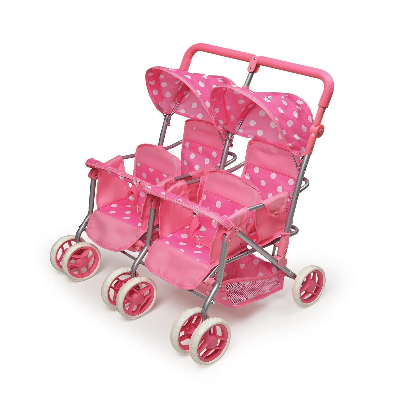 Badger Basket Quad Deluxe Doll Stroller-Pink with Polka ...