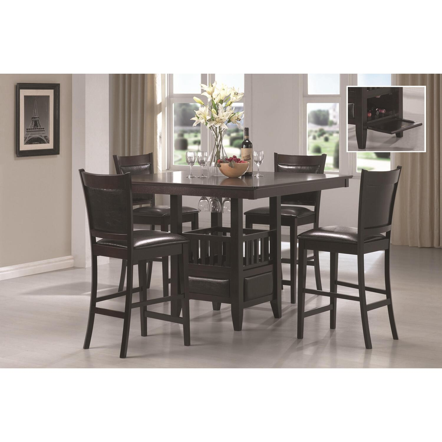 Hollywood home jaden square counter height 5 piece dining for Square dinette sets