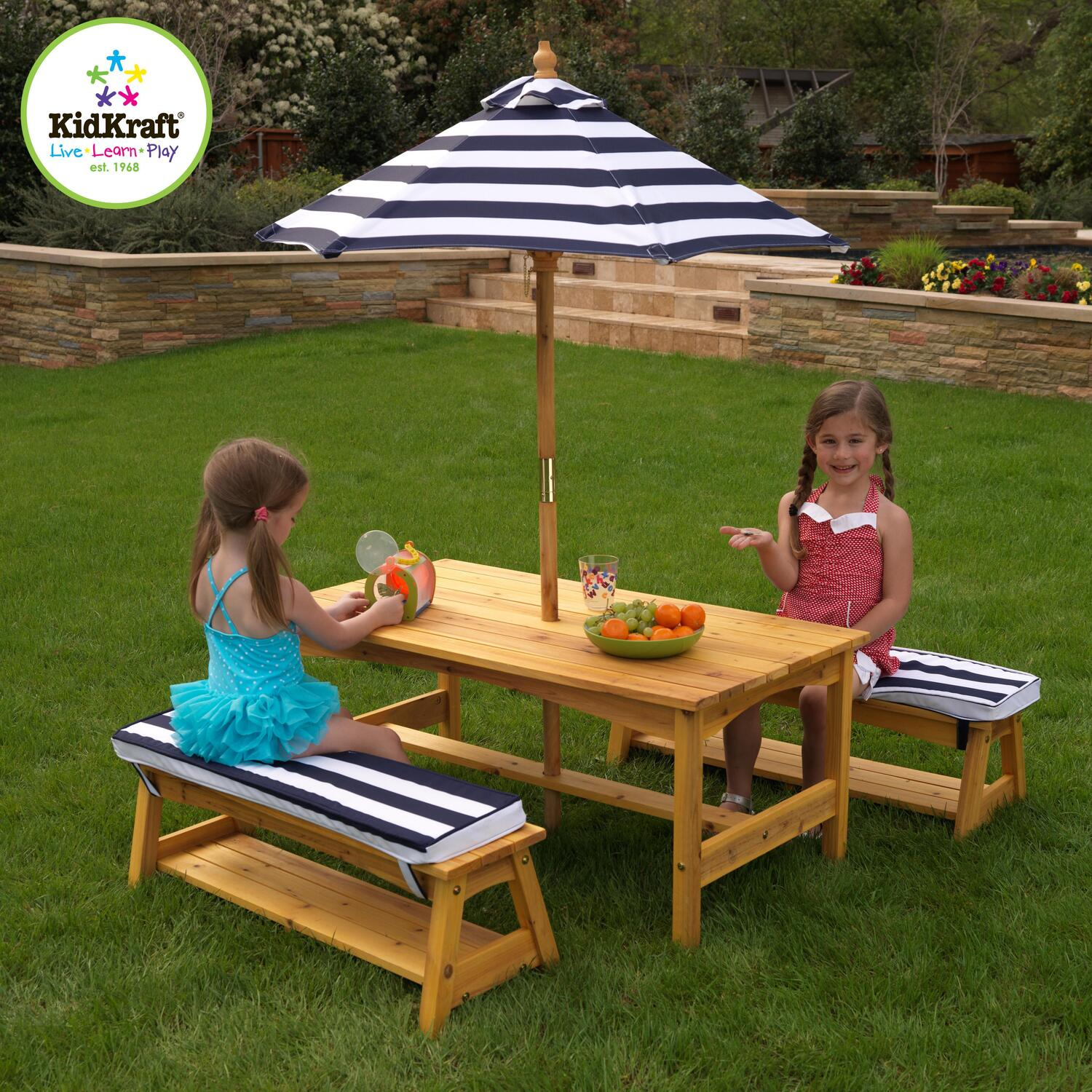 kidkraft outdoor table bench set with cushions an umbrella by oj