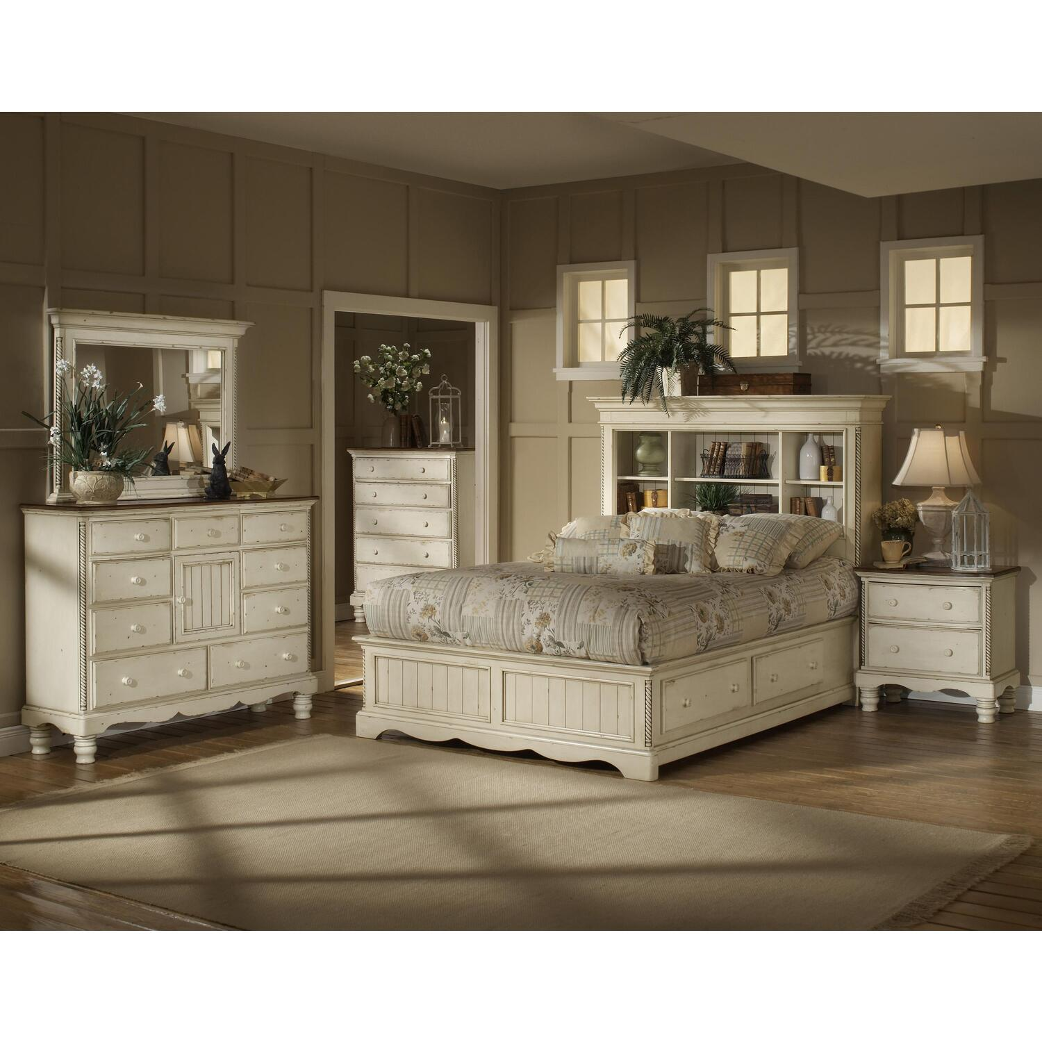 Hillsdale Furniture Wilshire Bookcase Bed W Storage 4 Piece Bedroom Set Queen By Oj Commerce
