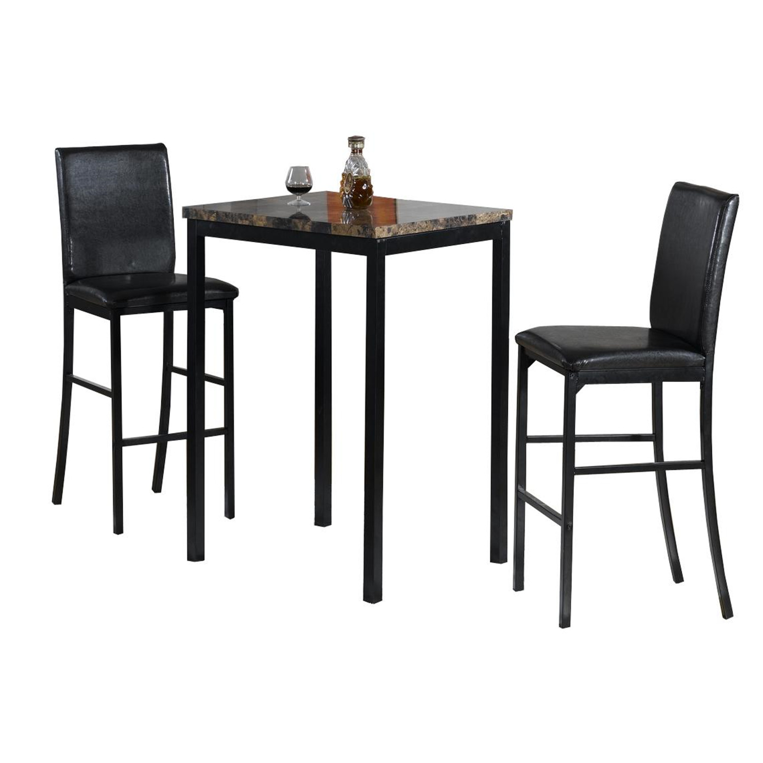 Home Source Faux Marble Counter Height Bistro Table w Two Chairs by OJ merce $267 99