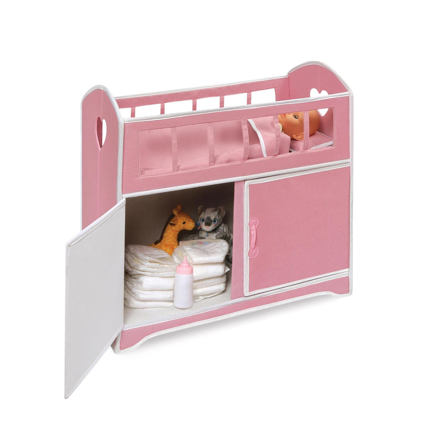 Folding doll furniture set with storage crib high chair and armoire