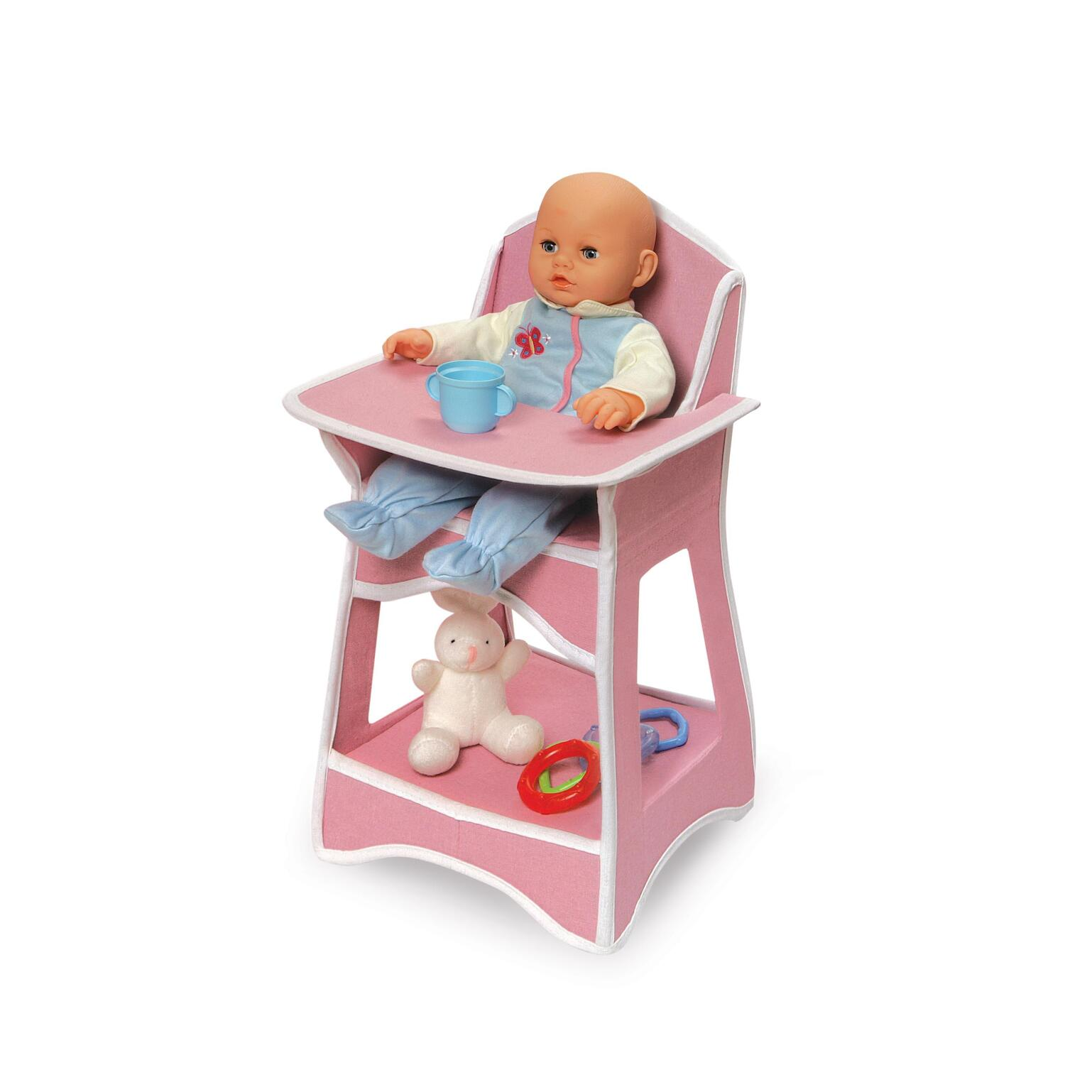 High Chair Toy Holder : Badger basket folding doll furniture set with storage crib