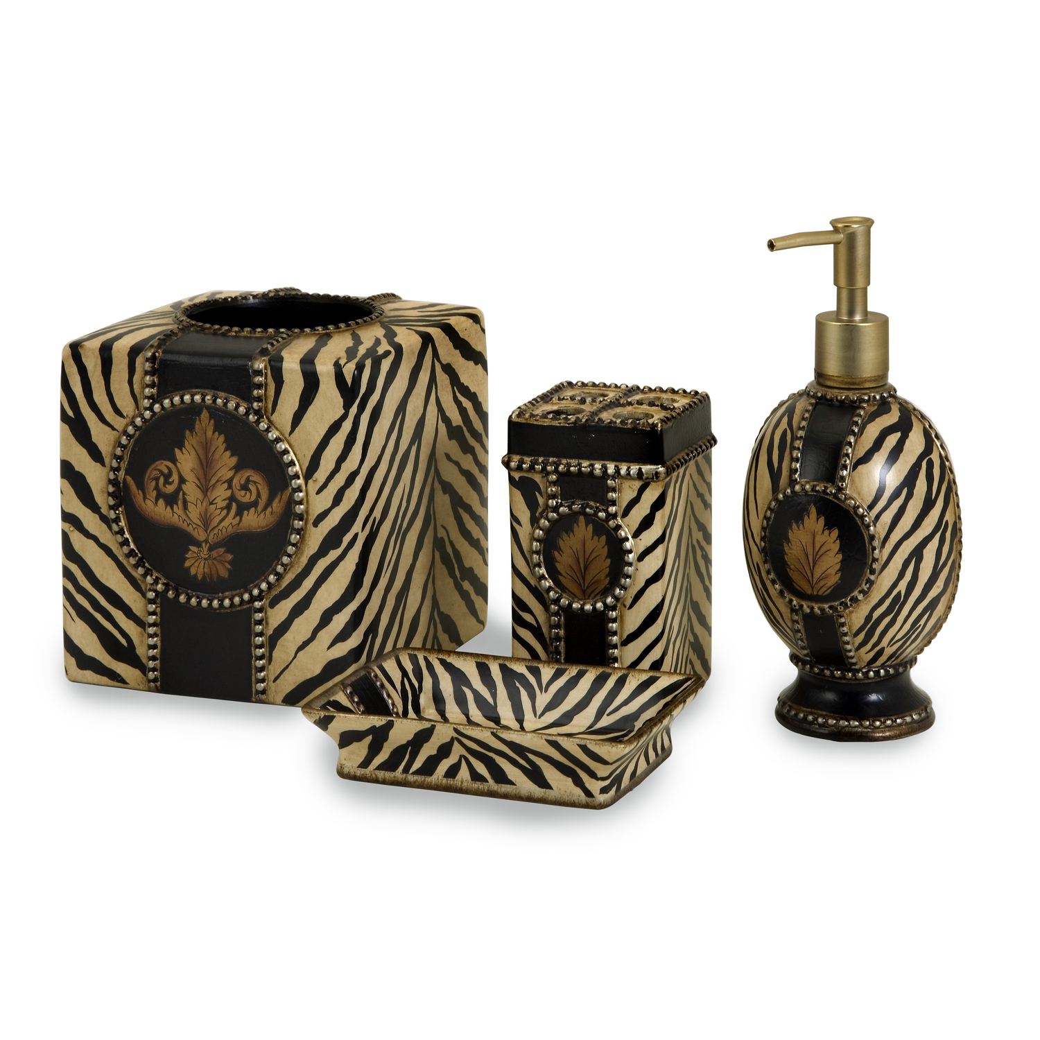 Imak set of 4 ck zebra bath accessories by oj commerce for Zebra bathroom accessories