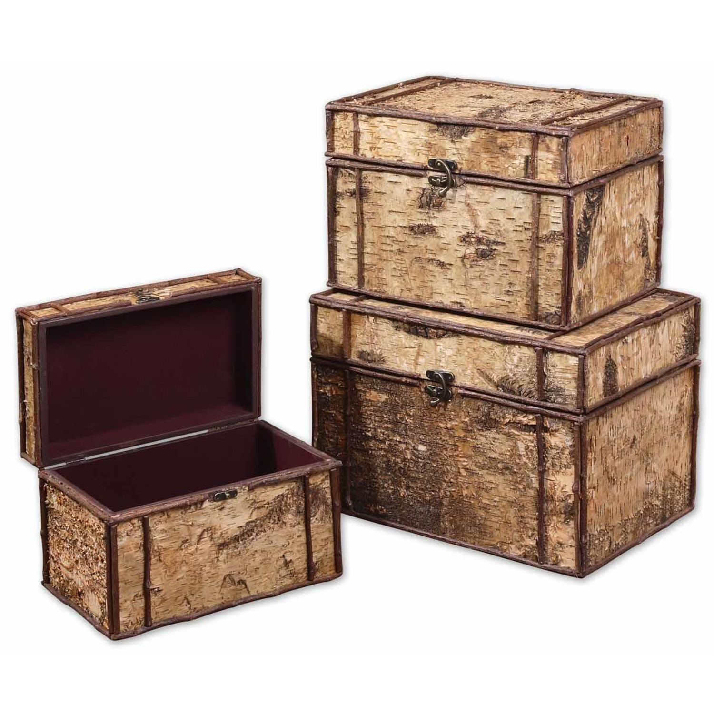 Uttermost uttermost birch bark decorative boxes set 3 by - Decorative storage boxes ...