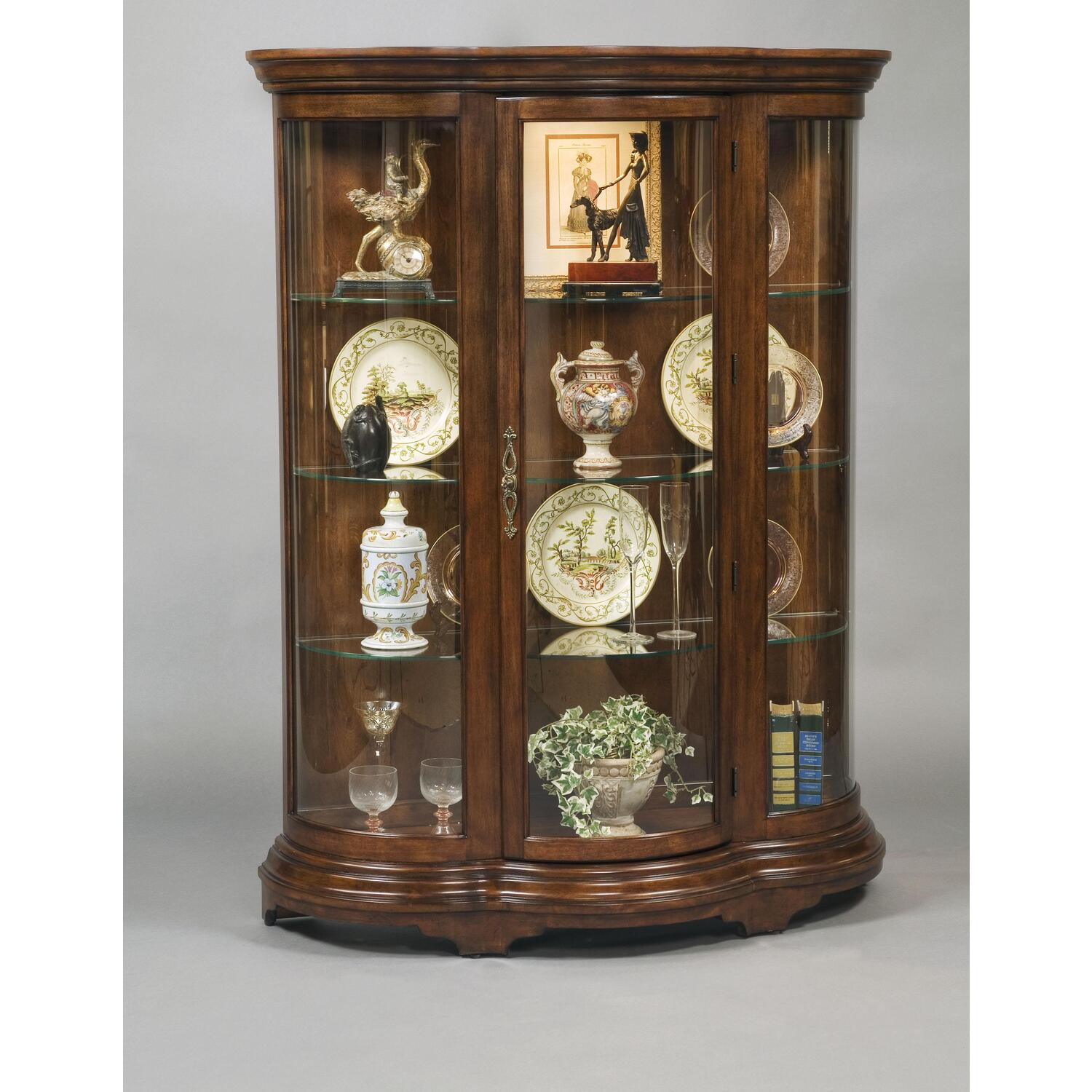 Pulaski curved front mantel curio by oj commerce 21367 for Curio cabinet