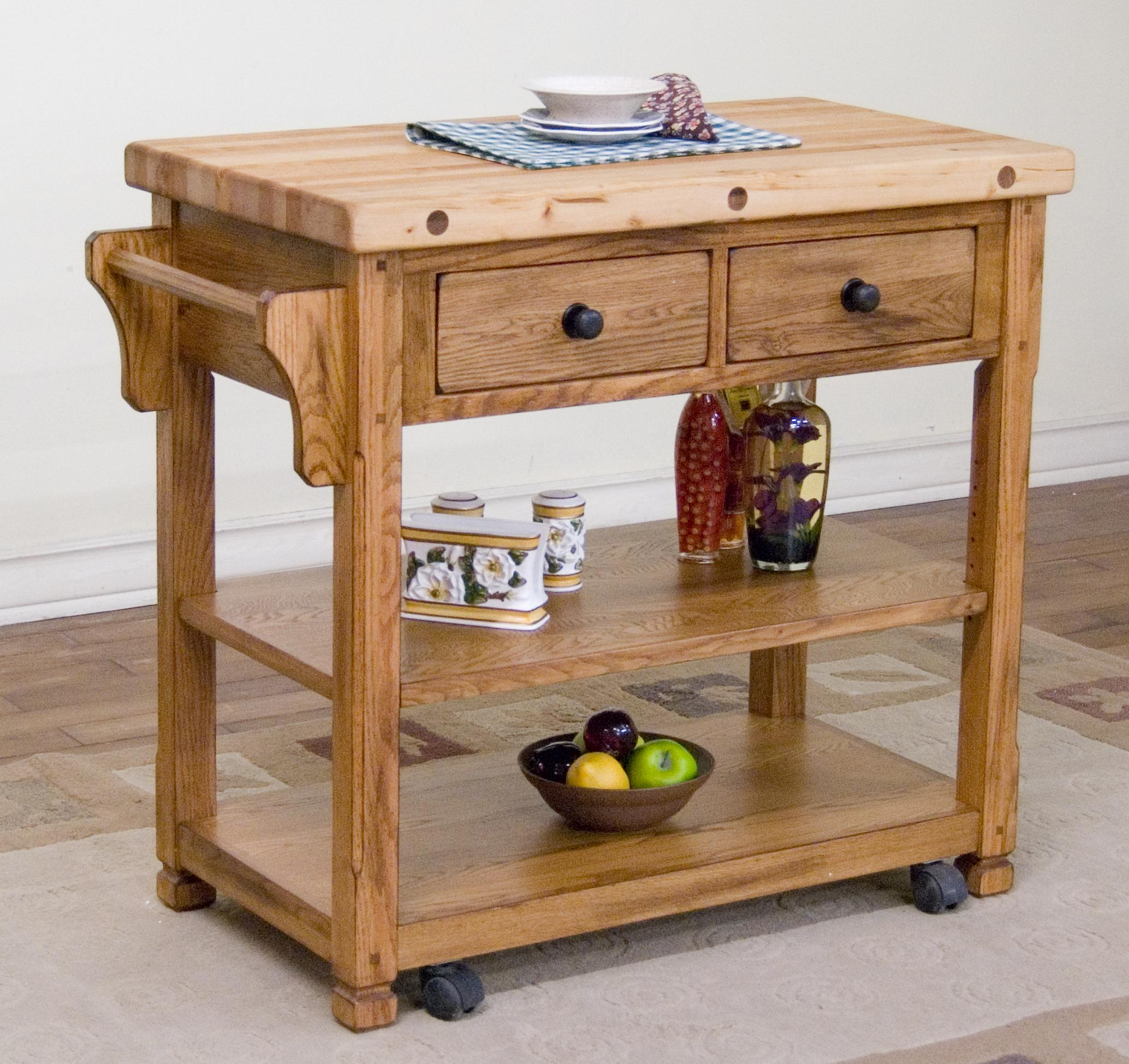 Butcher Block Kitchen Carts And Islands : Sunny Designs Sedona Butcher Block Kitchen Island Cart by OJ Commerce 2178RO - $587.13