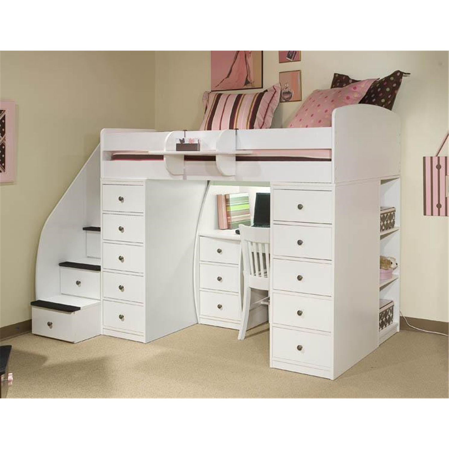berg furniture space saver loft t with 2 chests desk 4