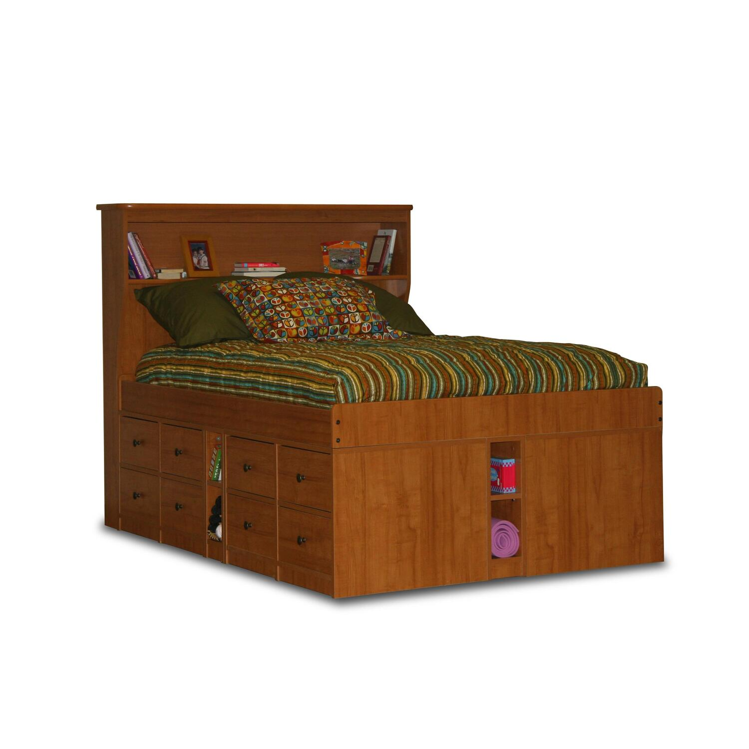 Berg furniture jr captain 39 s bed full with 16 drawers 8 Captains bed full