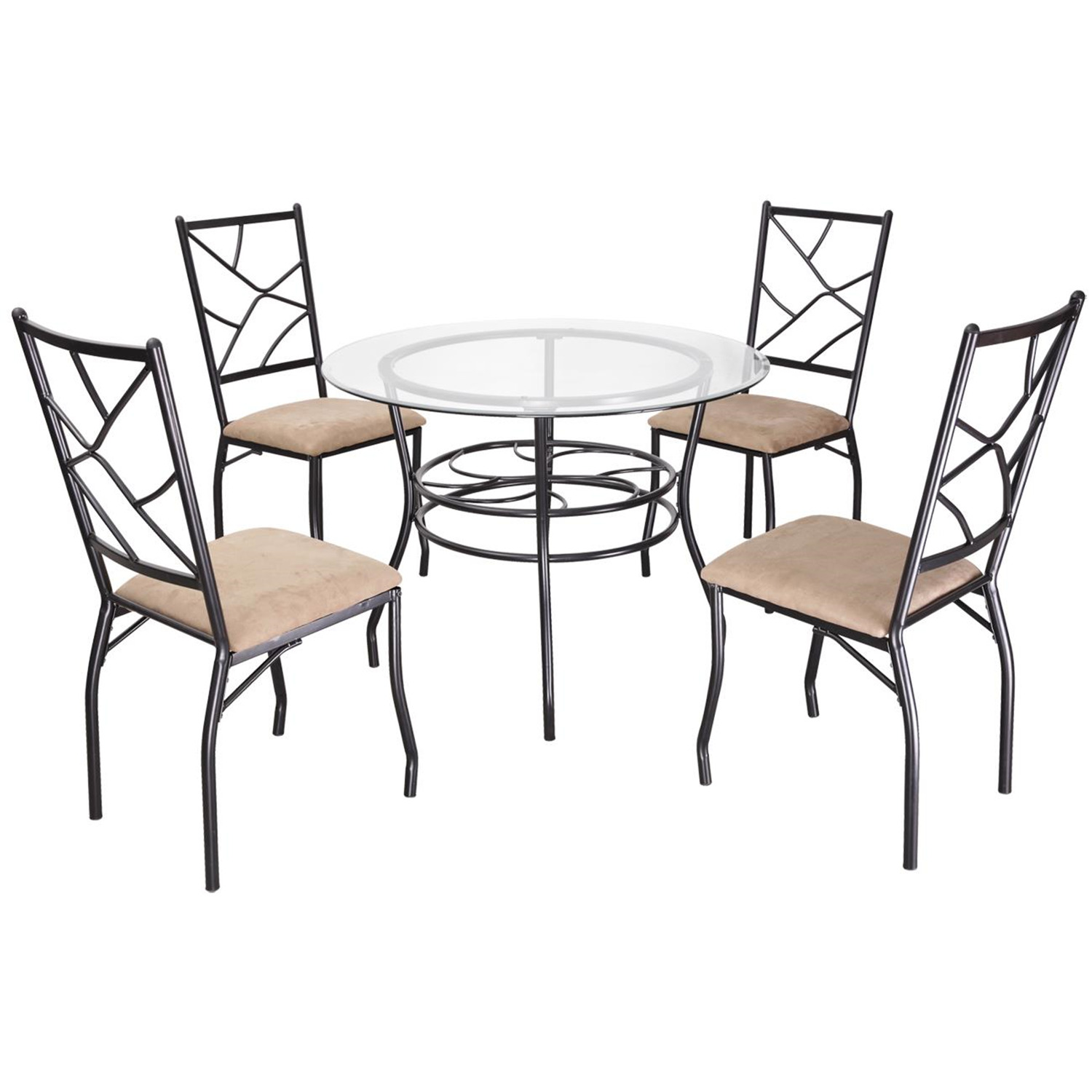 Home Source Round Glass Dining Table With 4 Armless Chairs