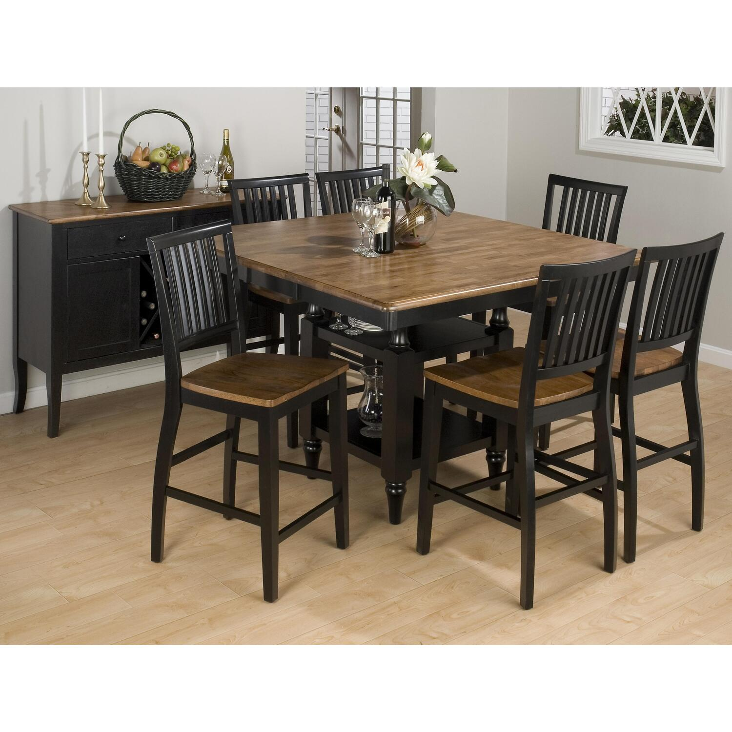 Jofran antique honey vintage black finished square for Square dinette sets