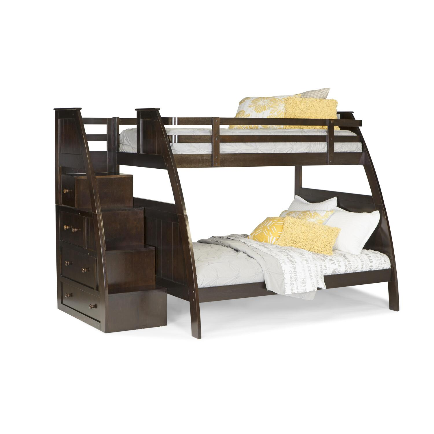 Canwood canwood overland twin over full bunk bed with built in stairs drawers by oj commerce - Loft bed with drawer stairs ...