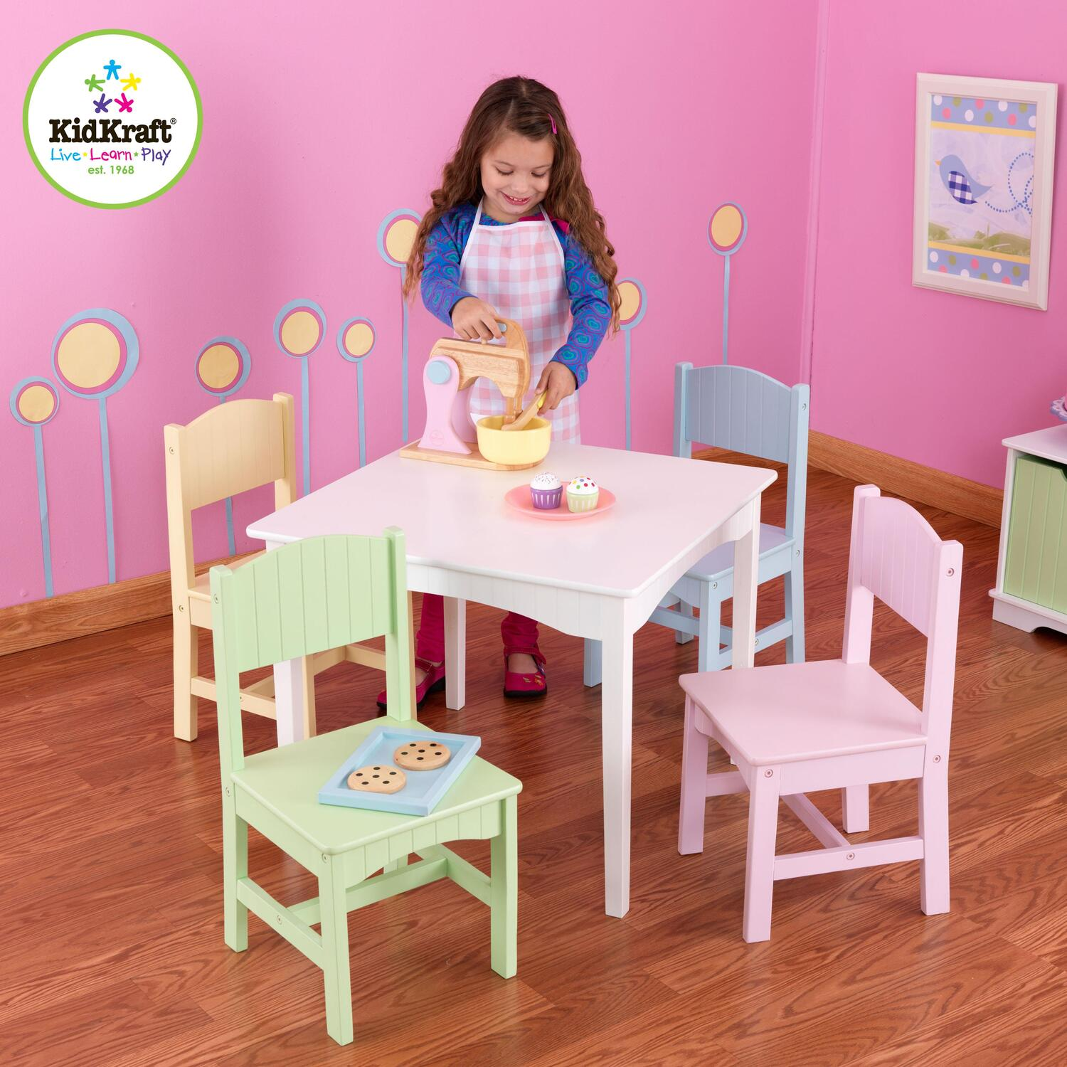 Kidkraft nantucket table 4 pastel chairs by oj commerce for Kids craft table canada