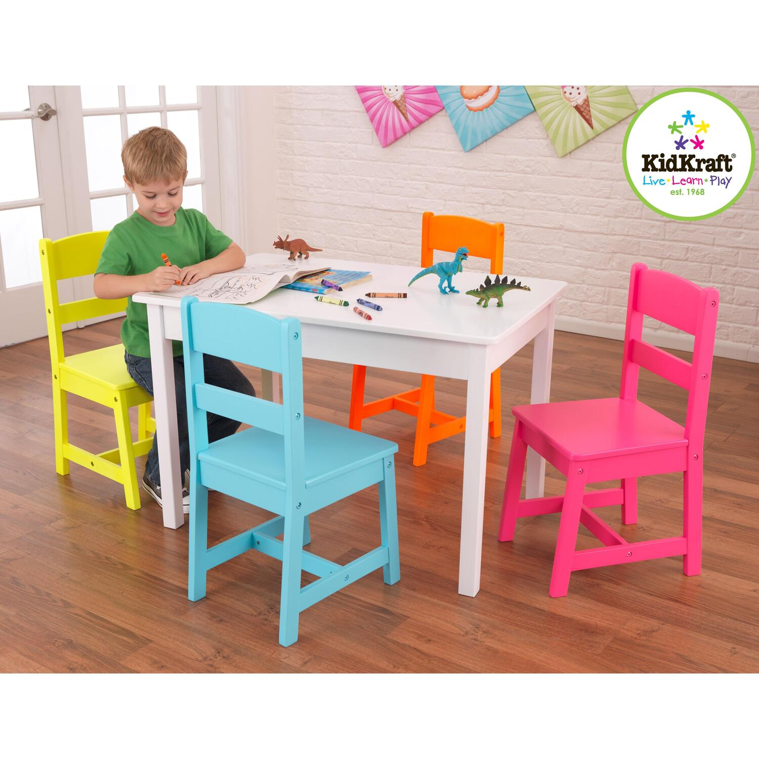 Kidkraft highlighter table 4 chair set by oj commerce for Table and chair set