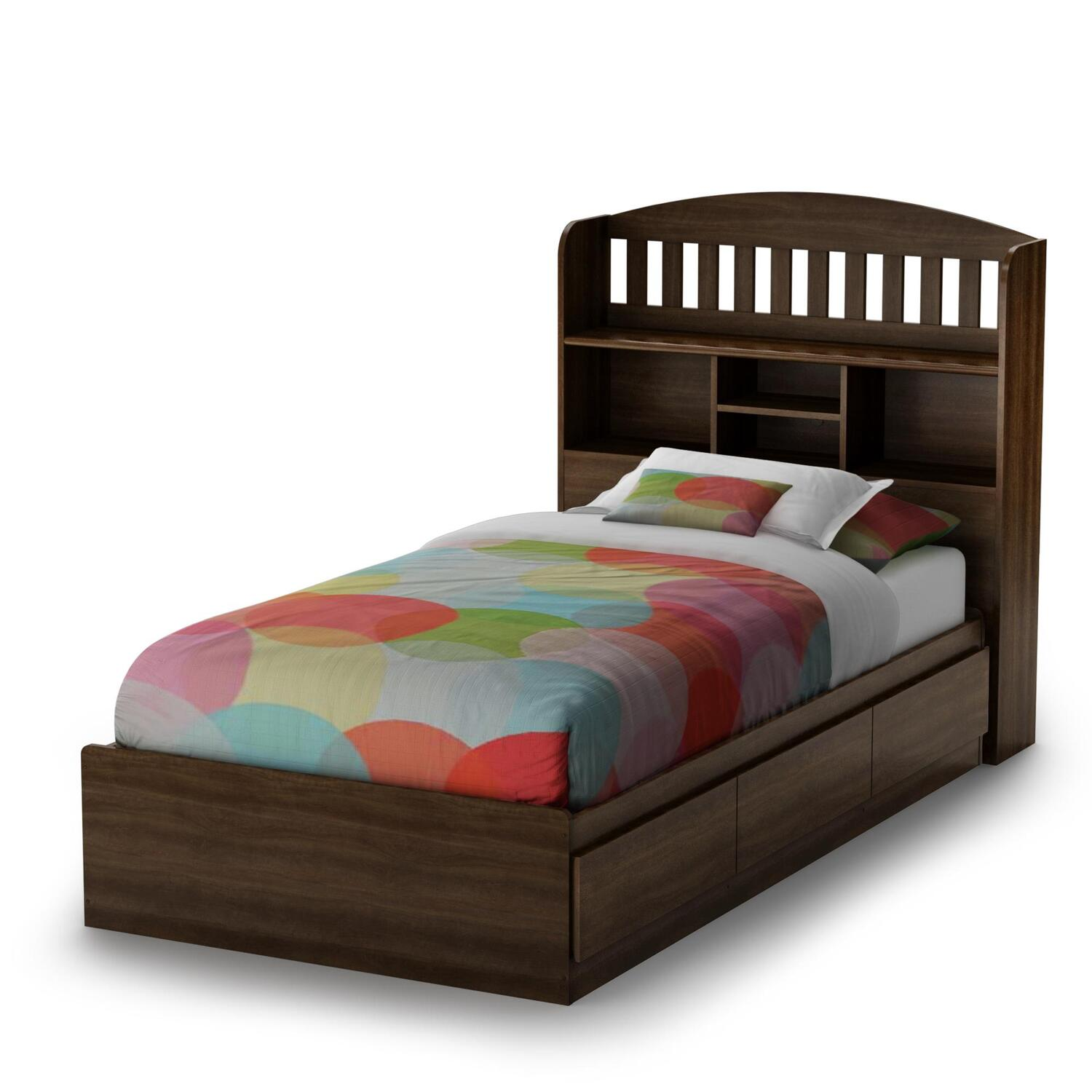 Twin bed with storage and bookcase headboard elegance for Bookshelf bed headboard
