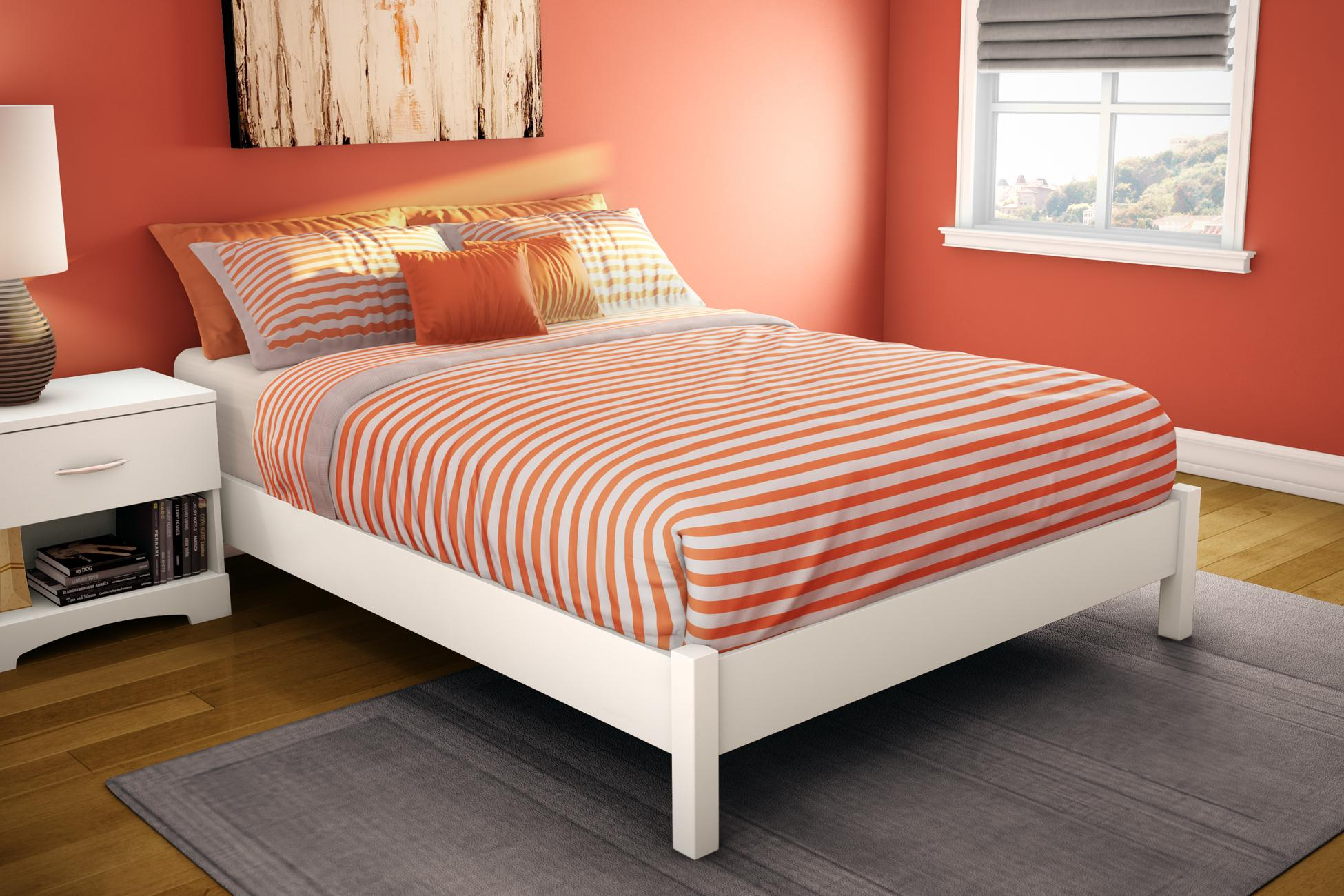South Shore Step One Full Platform Bed 54 Quot In Pure White