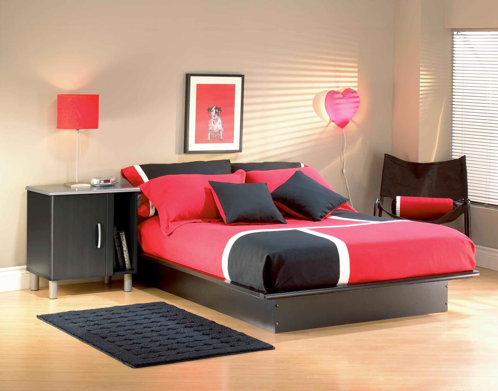 """South Shore Step e Full Platform Bed 54"""" in Pure Black"""