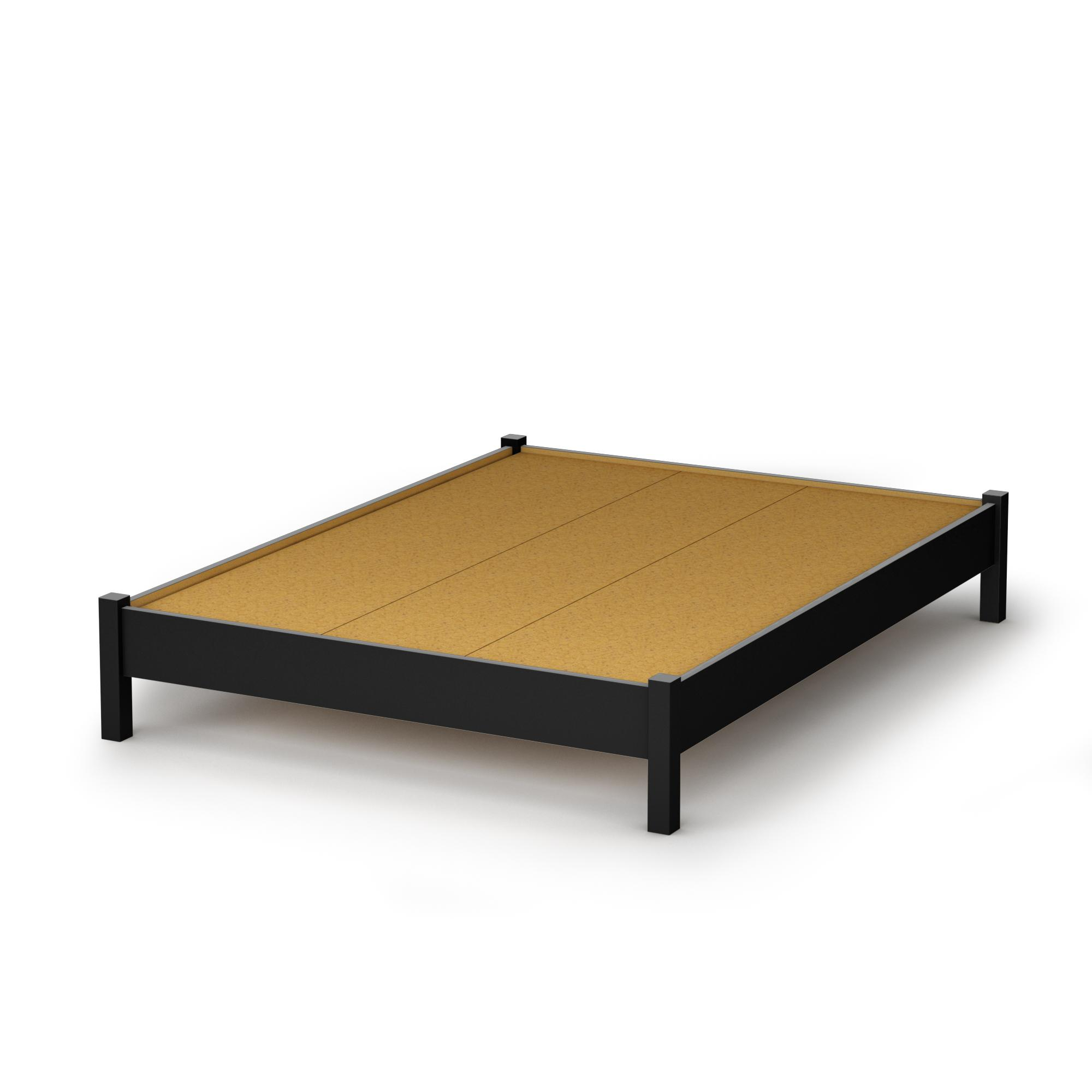 "South Shore Step One Full Platform Bed (54"") in Pure Black ..."