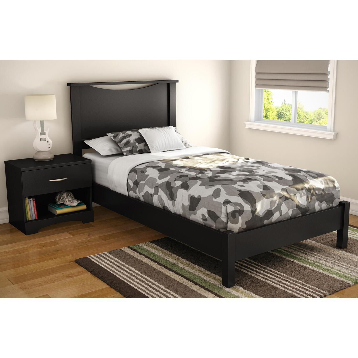 South Shore Step One Twin Platform Bed Headboard In Pure