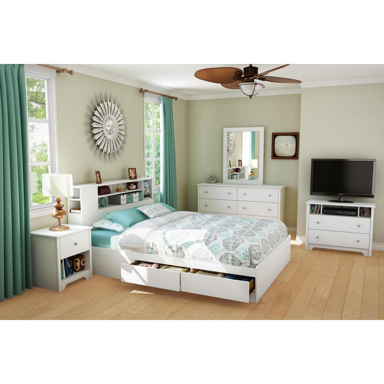South Shore Vito Queen Bed 6 Piece Bedroom Set in Pure ...