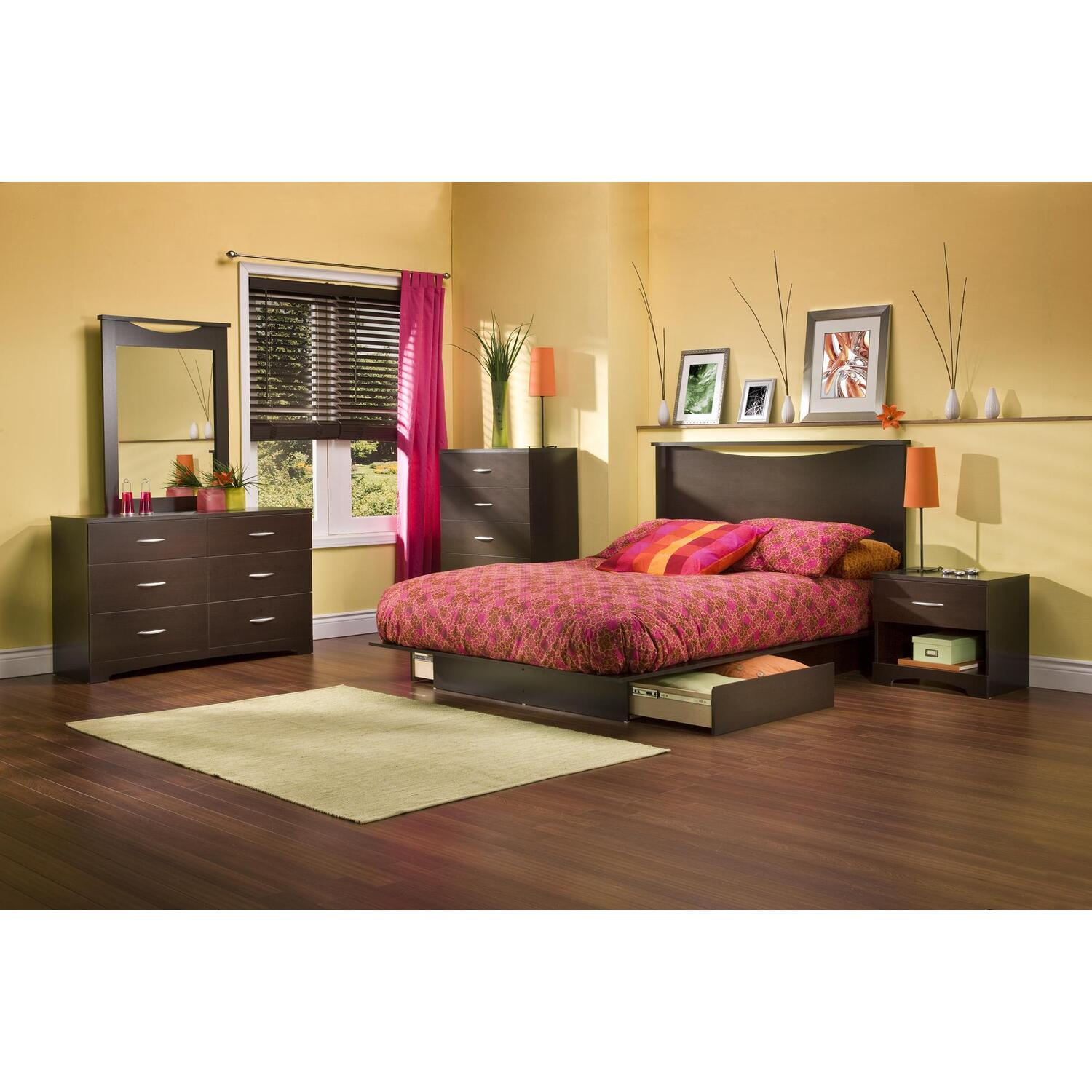 South shore back bay full queen platform 6 piece bedroom for Full bed bedroom sets