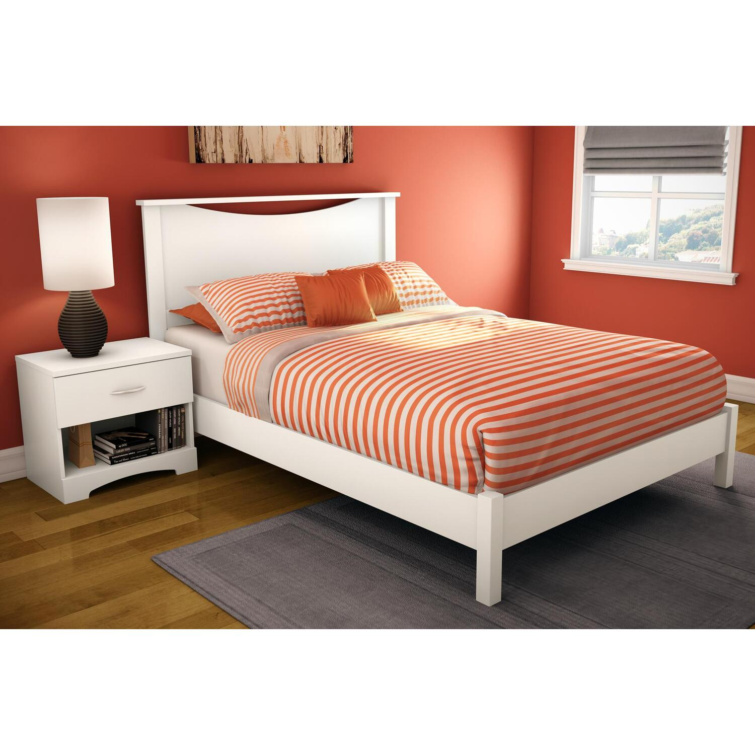 South Shore Step One Full Platform Bed & Headboard in Pure White by OJ ...