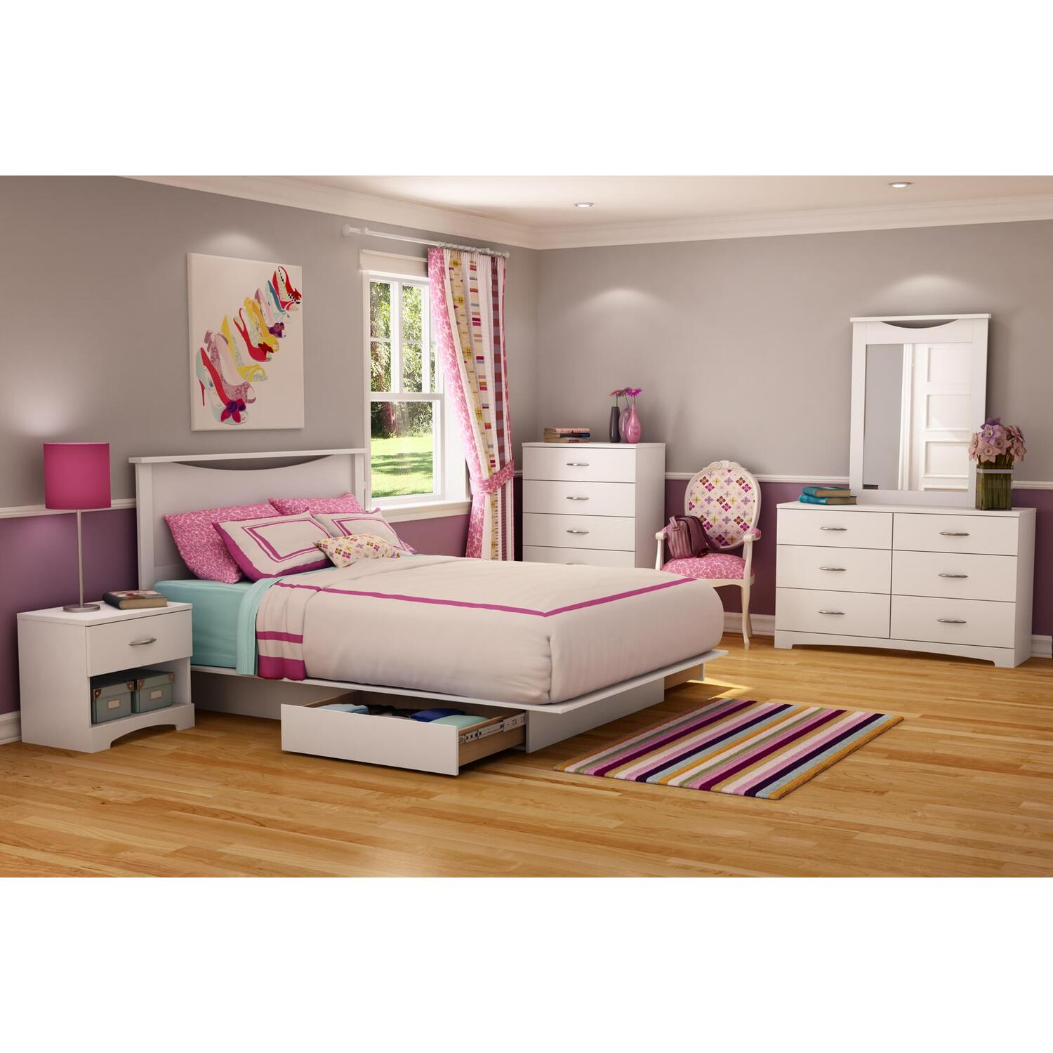 South Shore Step One Full Queen 6 Piece Bedroom Set In Pure White By