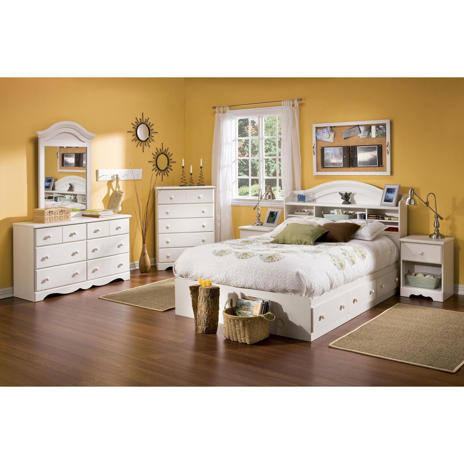 South shore summer breeze full 7 piece bedroom set in - South shore 4 piece bedroom furniture set ...