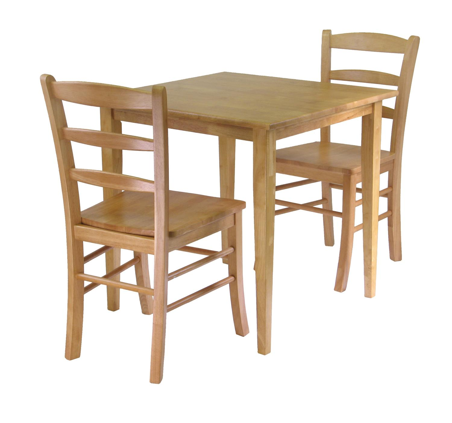 Winsome groveland 3pc dining set square table with 2 for Square dinette sets