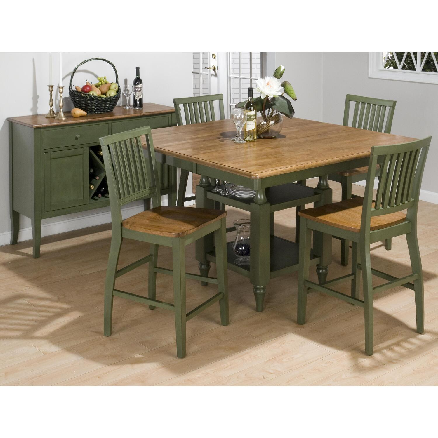 Jofran Antique Honey Vintage Green Finished Counter Height 5 Piece Dining S