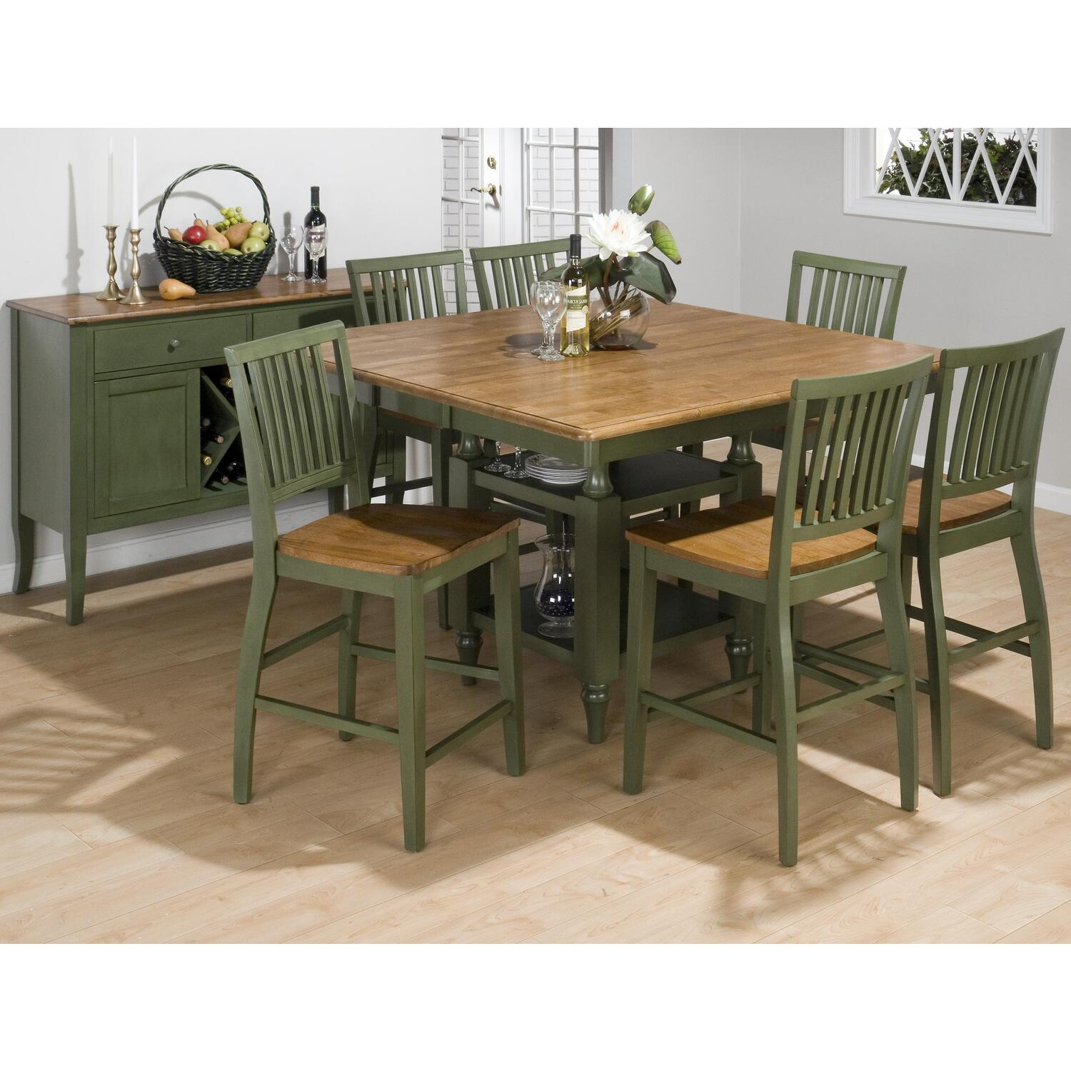 counter height 7 piece dining set w butterfly leaf by oj commerce 344