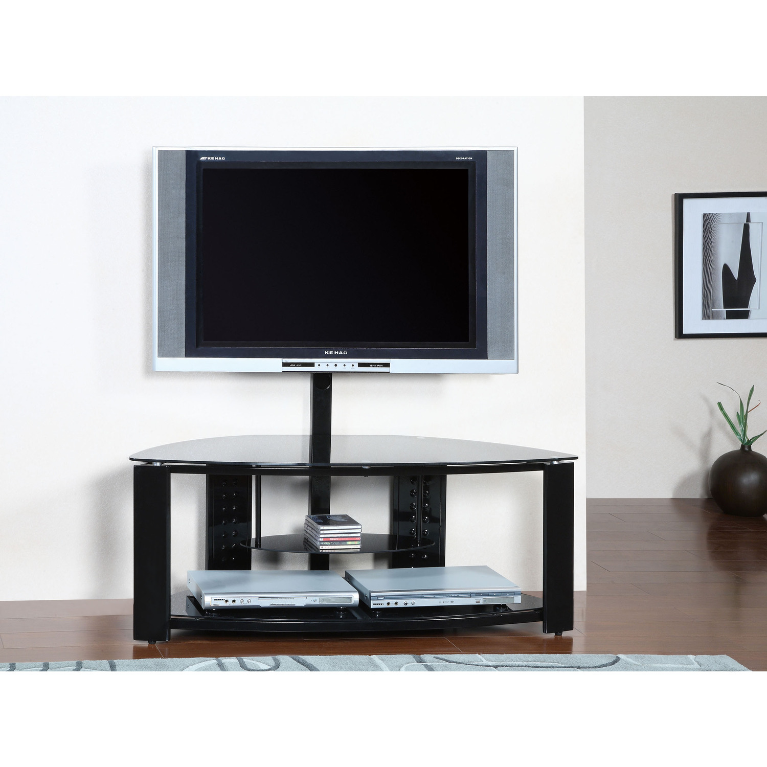 Powell 2-Shelf Corner Flat Panel TV Stand with Post and Bracket by OJ