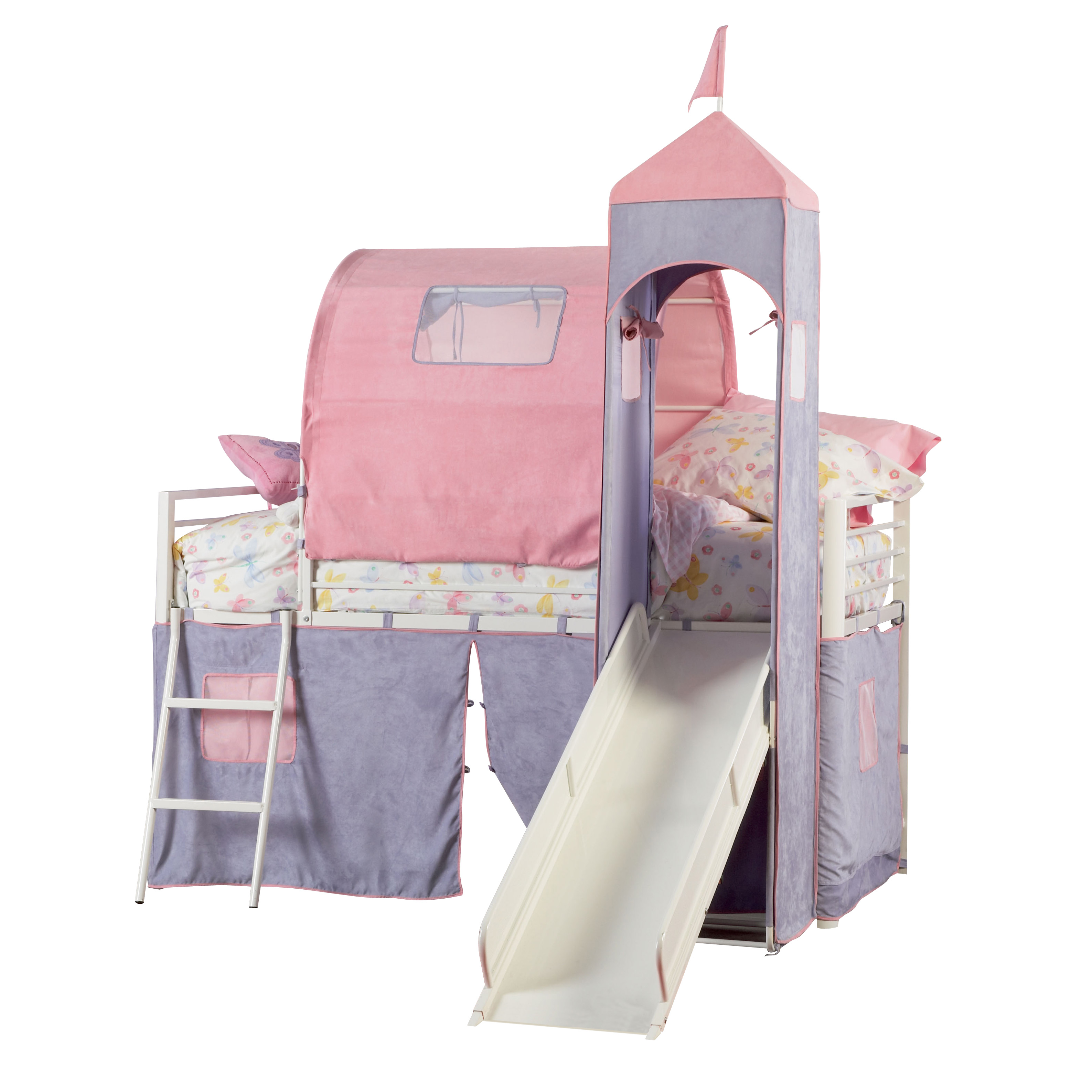 powell princess castle twin size tent bunk bed with slide by oj commerce 374 069. Black Bedroom Furniture Sets. Home Design Ideas