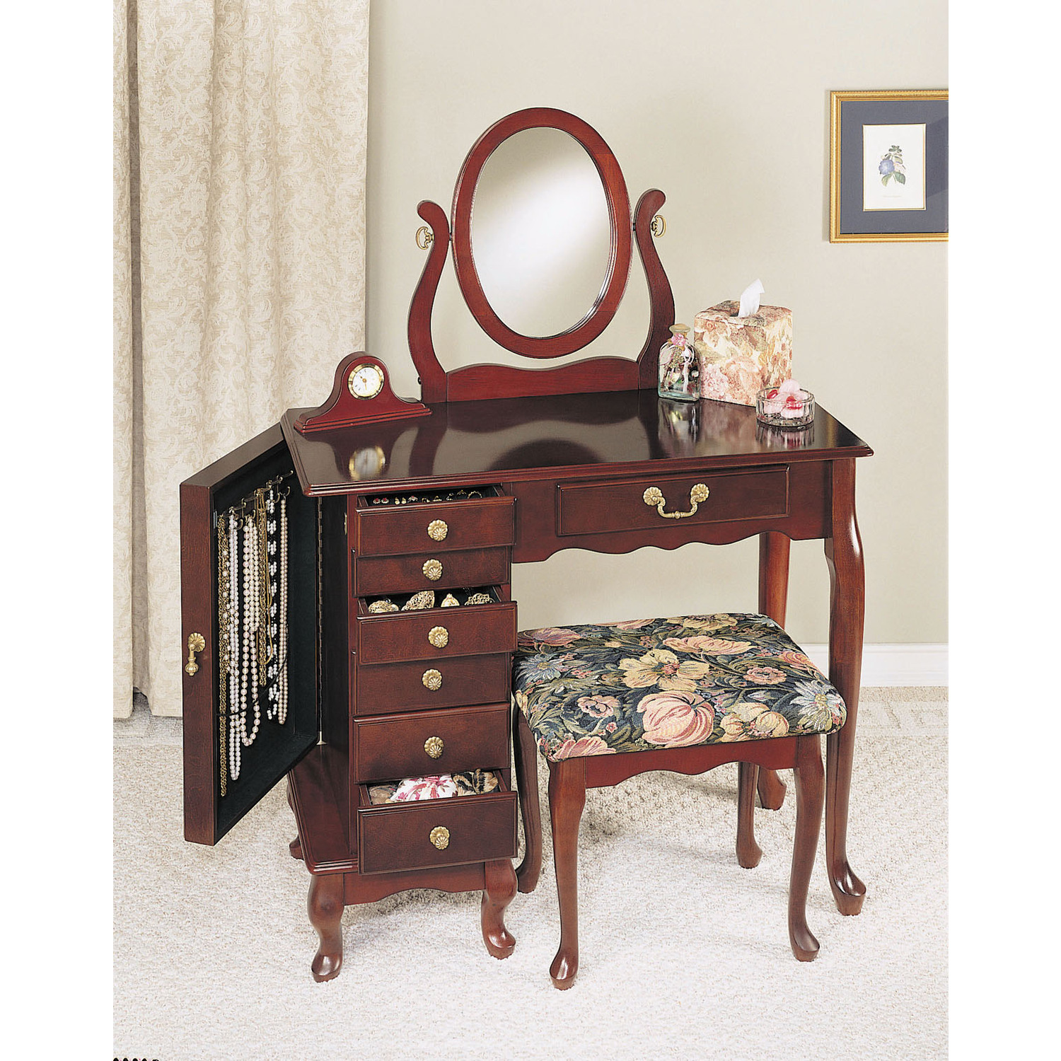 Powell Heirloom Cherry Jewelry Armoire Vanity Mirror And Bench By Oj Commerce 402a