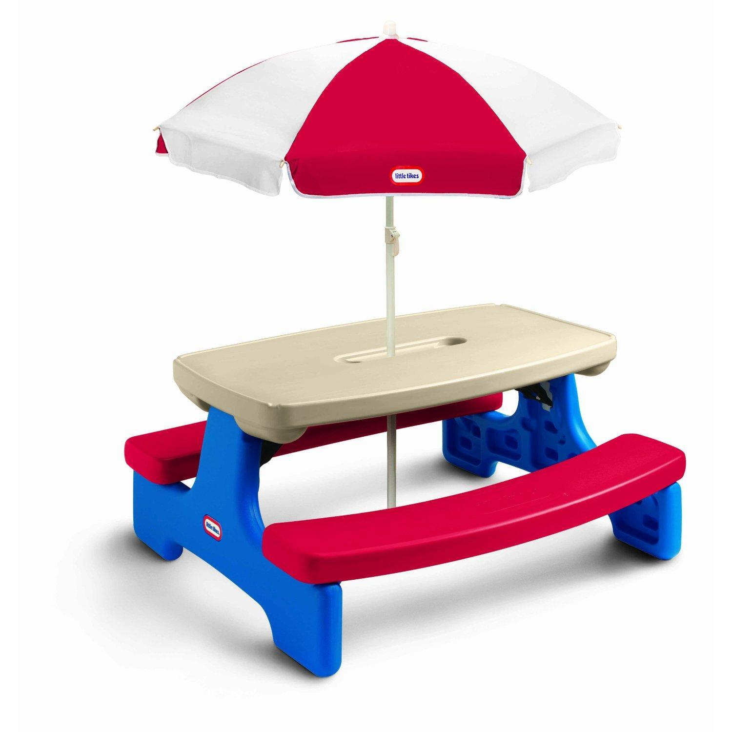 little tikes easy store picnic table with umbrella by oj commerce