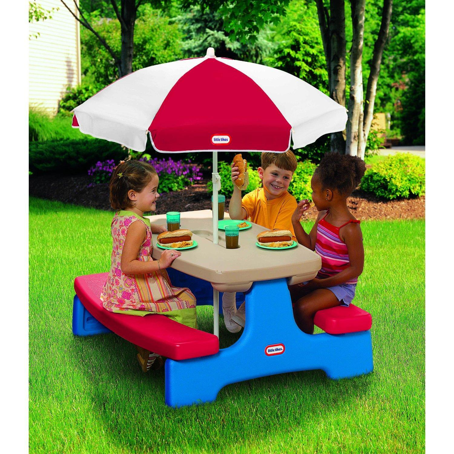 Little Tikes Easy Store Picnic Table With Umbrella By Oj