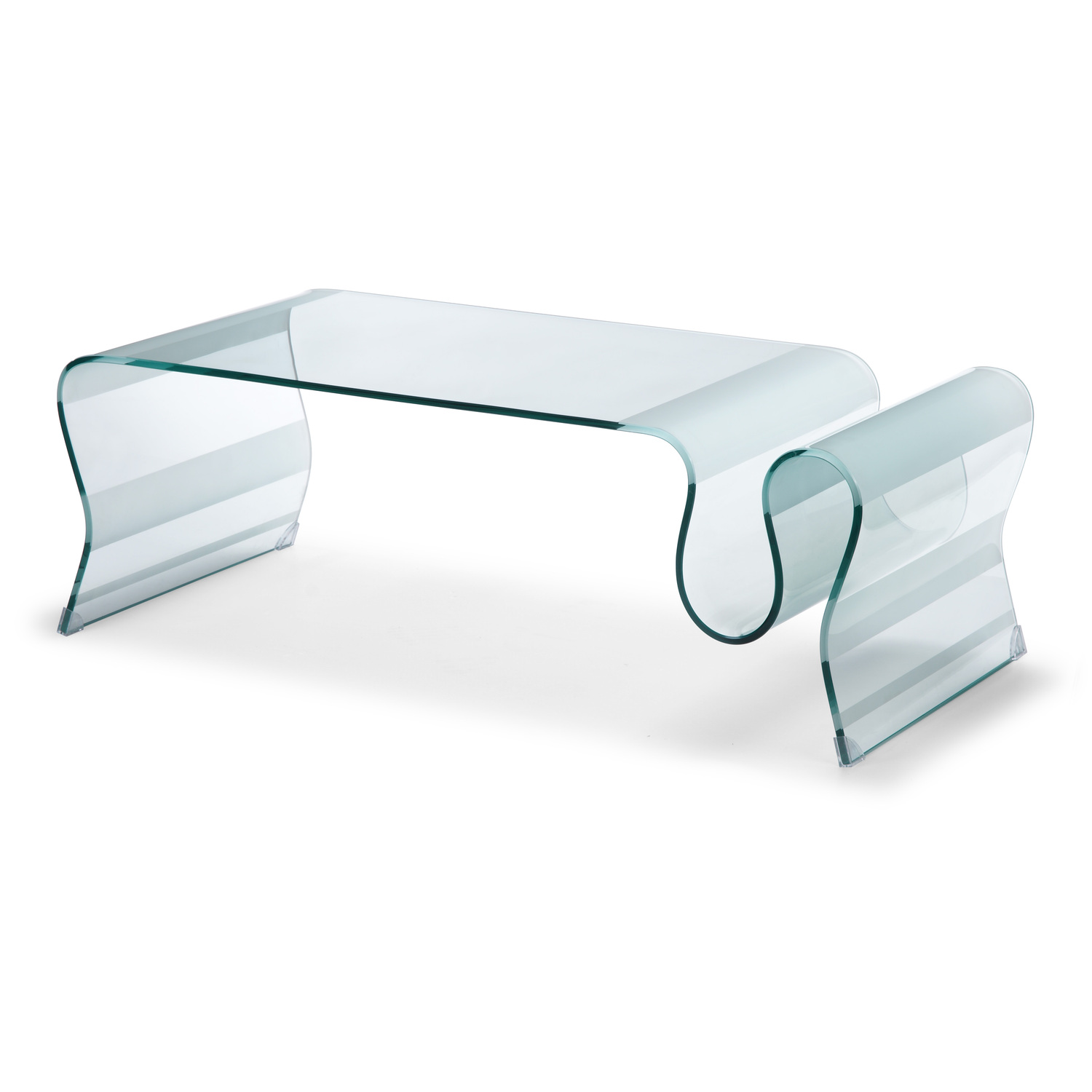 Zuo modern discovery coffee table clear glass by oj for Glass furniture