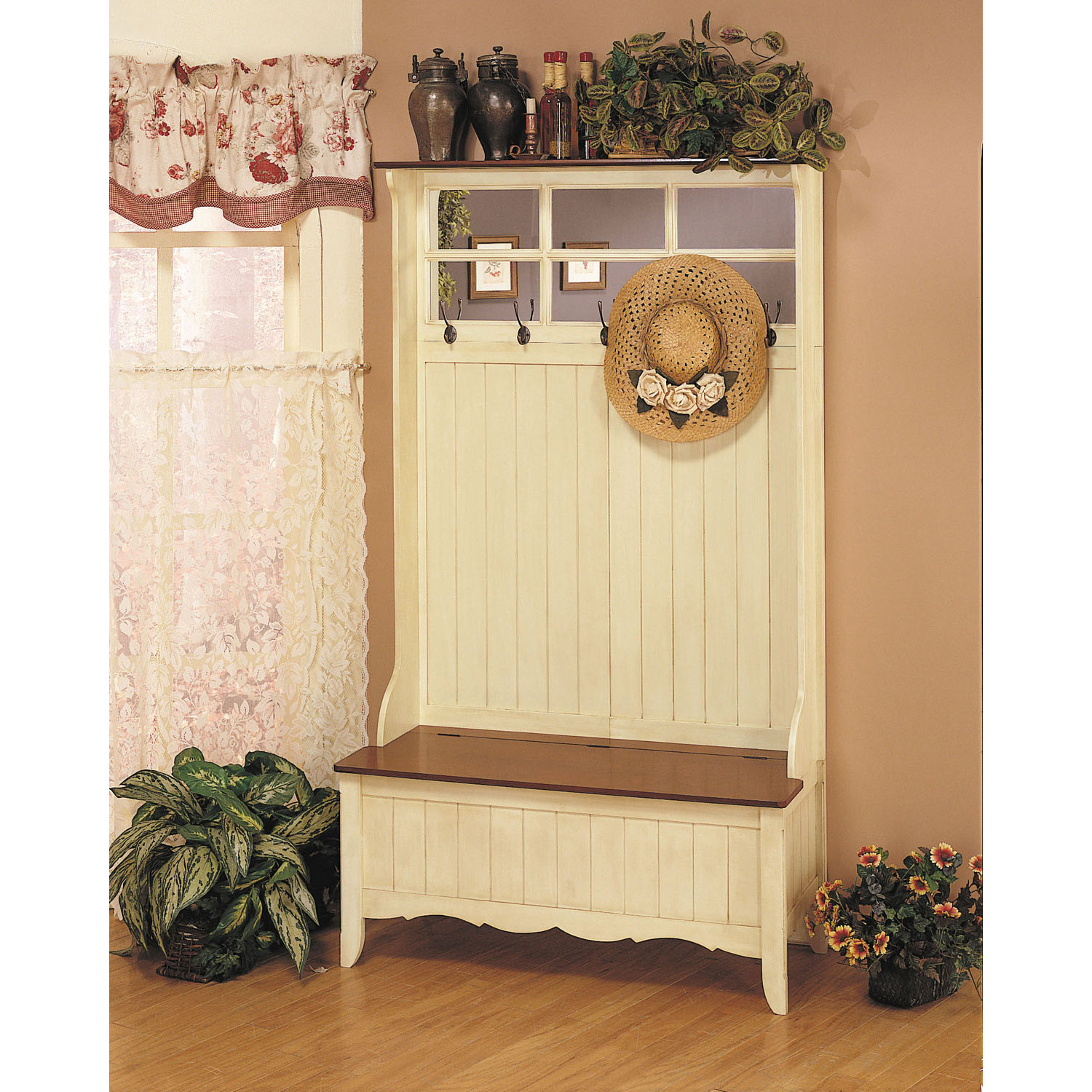 powell french country hall tree with storage bench by oj. Black Bedroom Furniture Sets. Home Design Ideas
