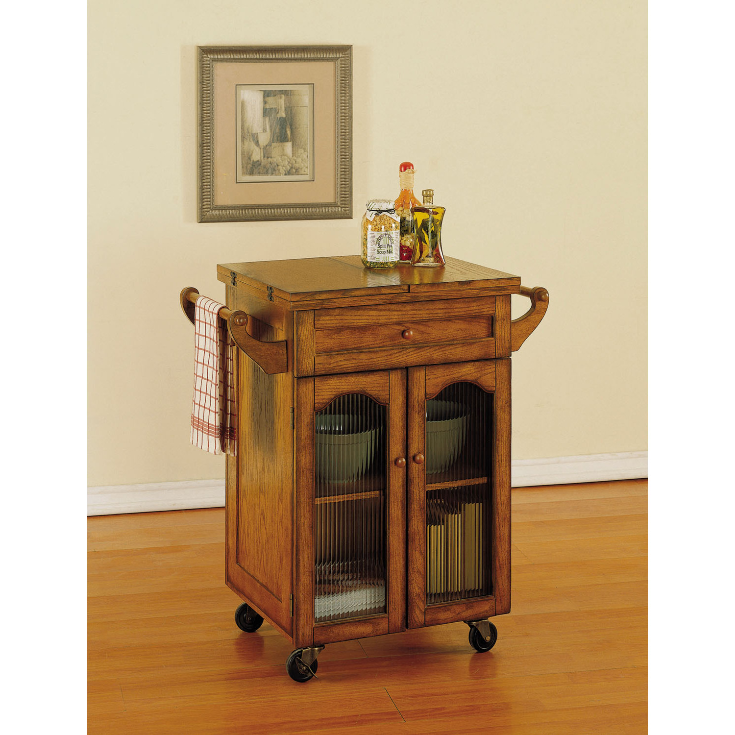Powell Noble Oak Kitchen Cart by OJ merce 439 462 $389 00