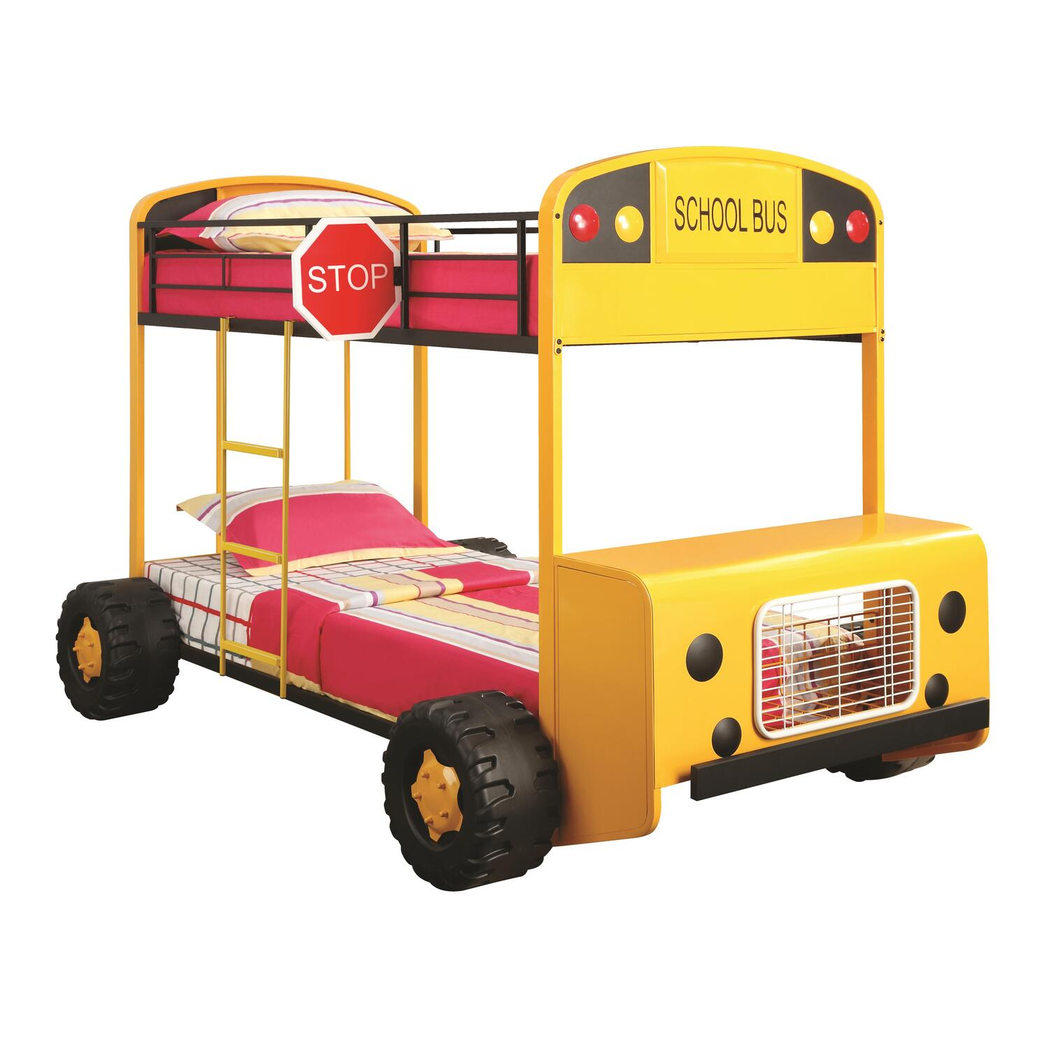 School Bus Twin Size Bed With Front Table and Storage ... |School Bus Bed
