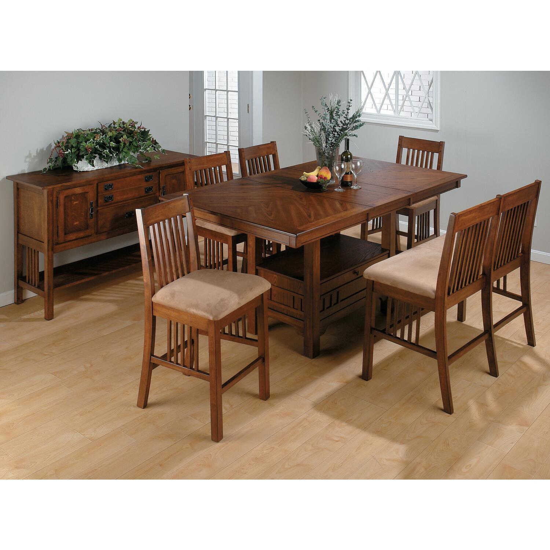 Counter Height Rectangular Dining Set : ... Brown Oak Finished Rectangular Counter Height 6-Piece Dining Set