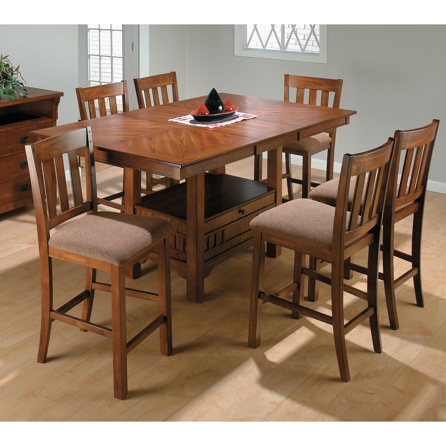 counter height 7 piece dining set by oj commerce 477 chrct 1