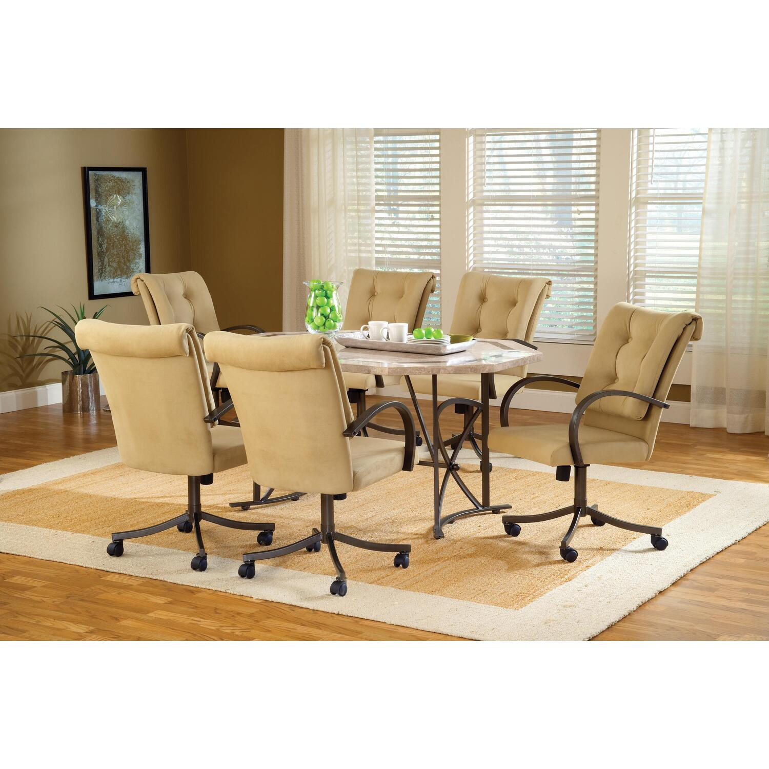 furniture harbour point 7pc octagon dining set with caster chair
