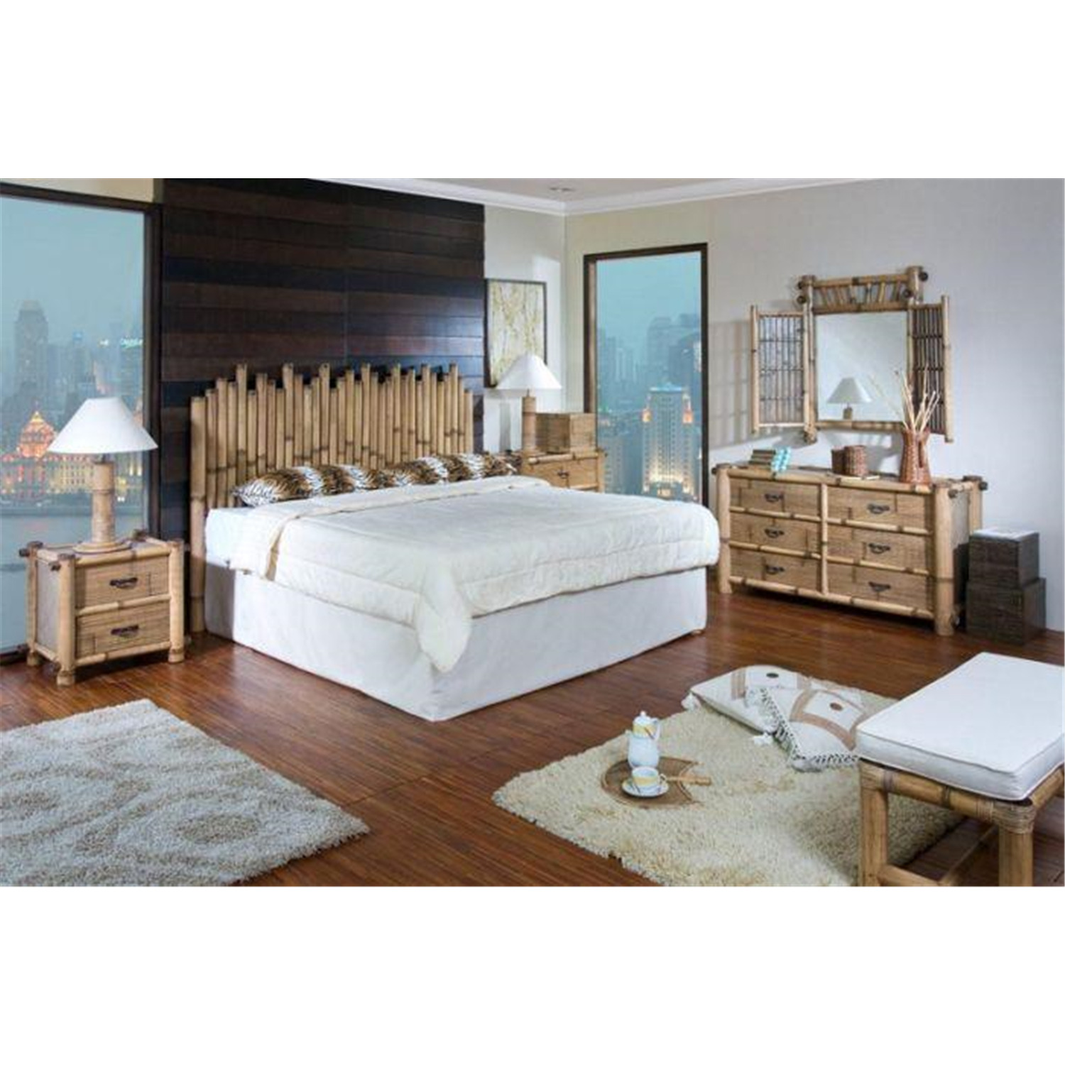 hospitality rattan havana bamboo bedroom set by oj commerce 4pcset 712