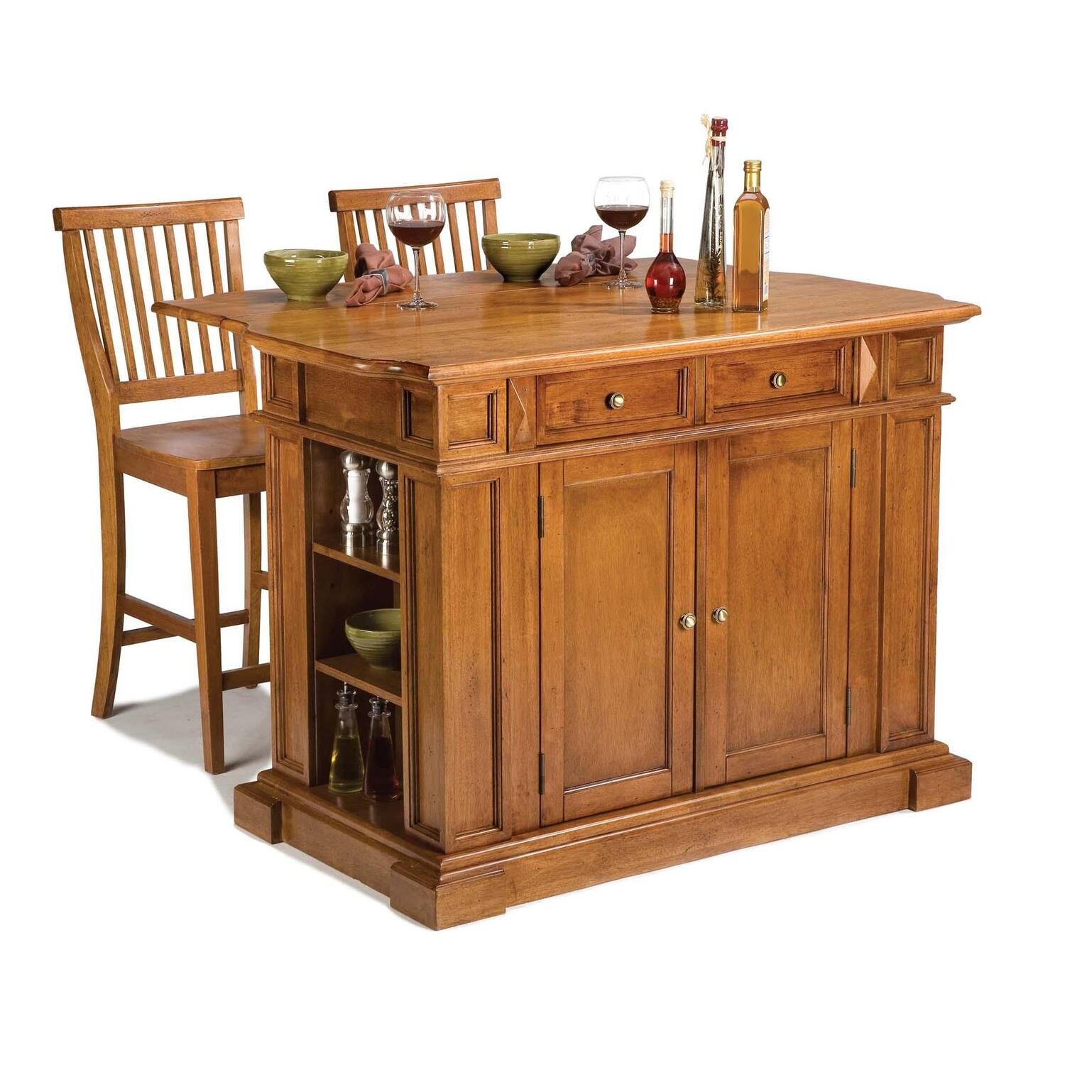 Home styles kitchen island and two stools by oj commerce - Kitchen island with stools ...